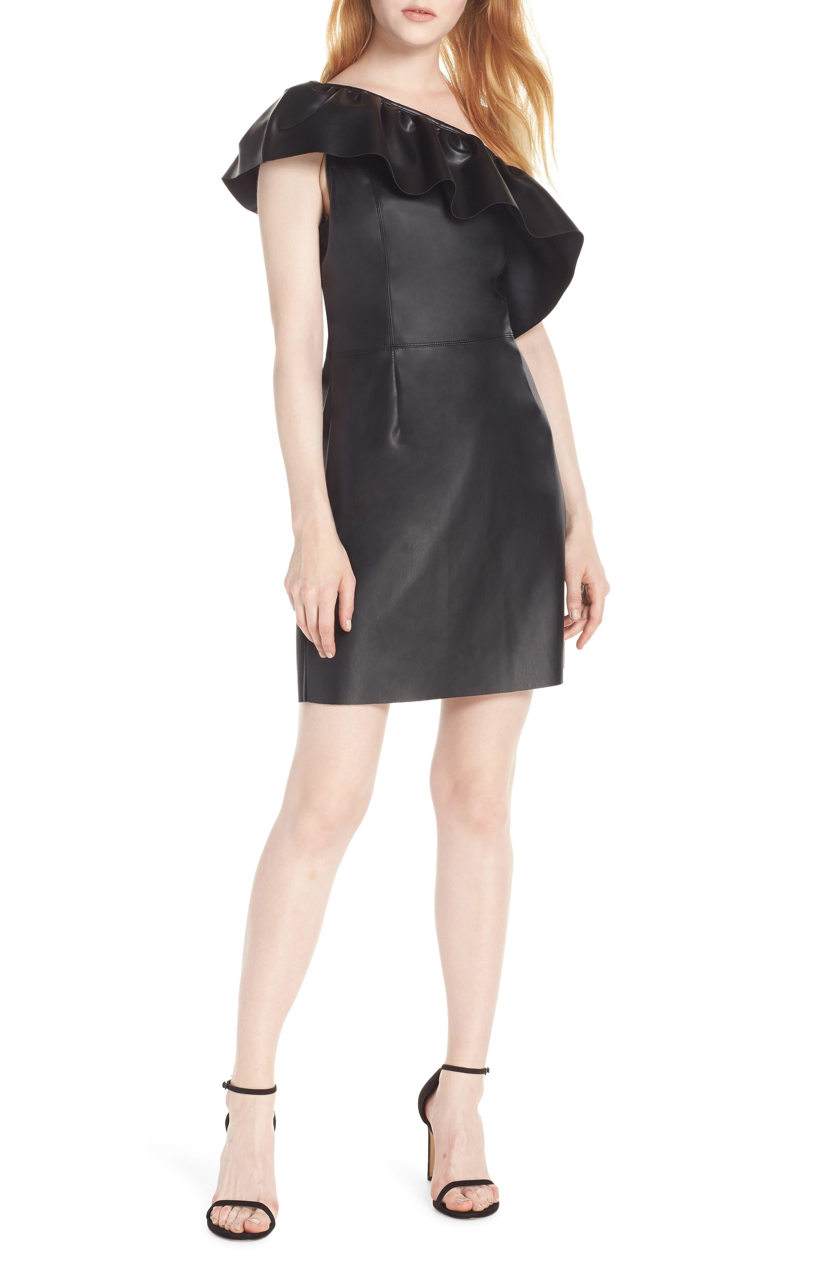 Bb Dakota One-Shoulder Faux Leather Dress, Black