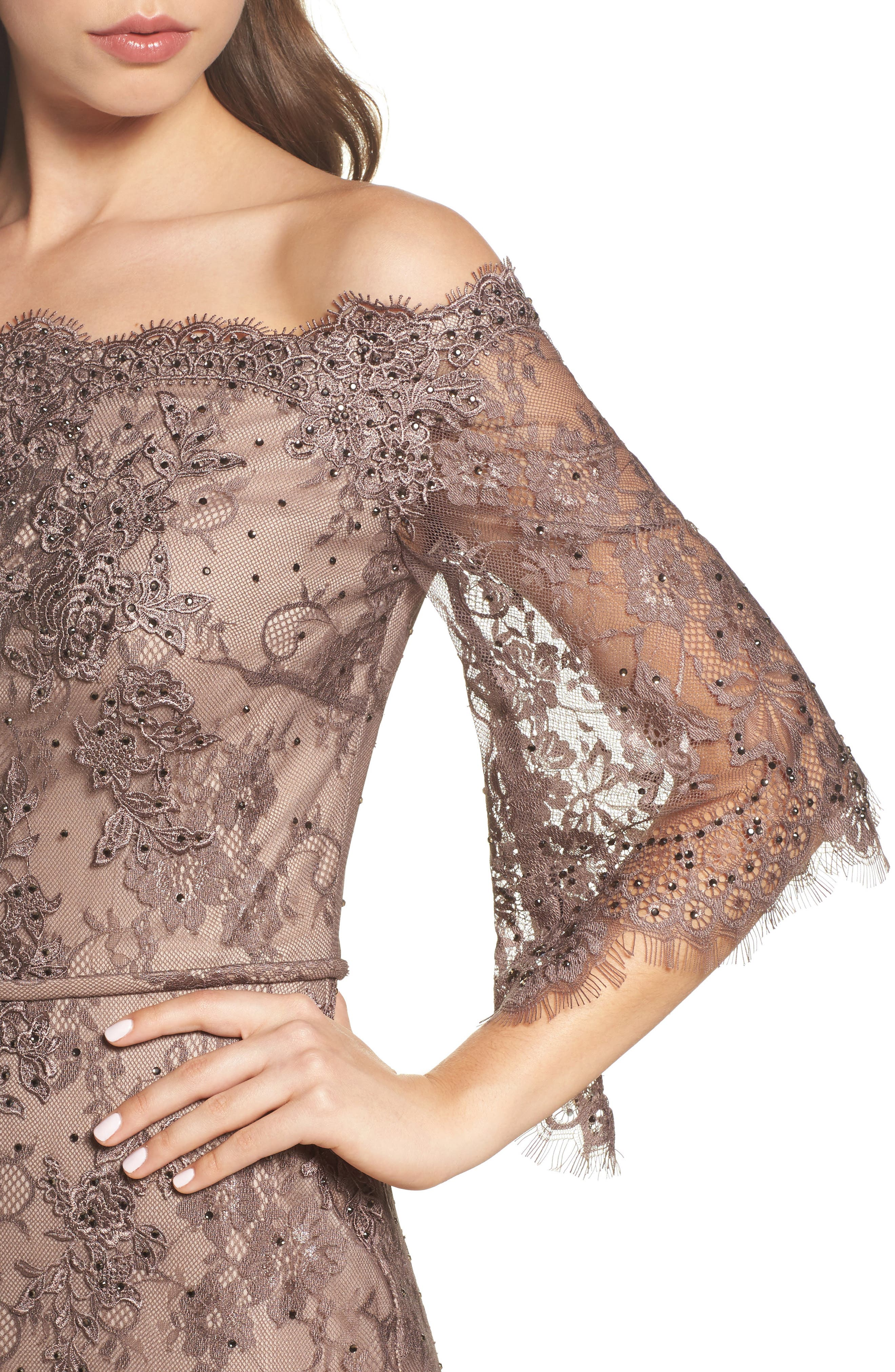Off the Shoulder Lace Gown,                             Alternate thumbnail 4, color,                             COCOA