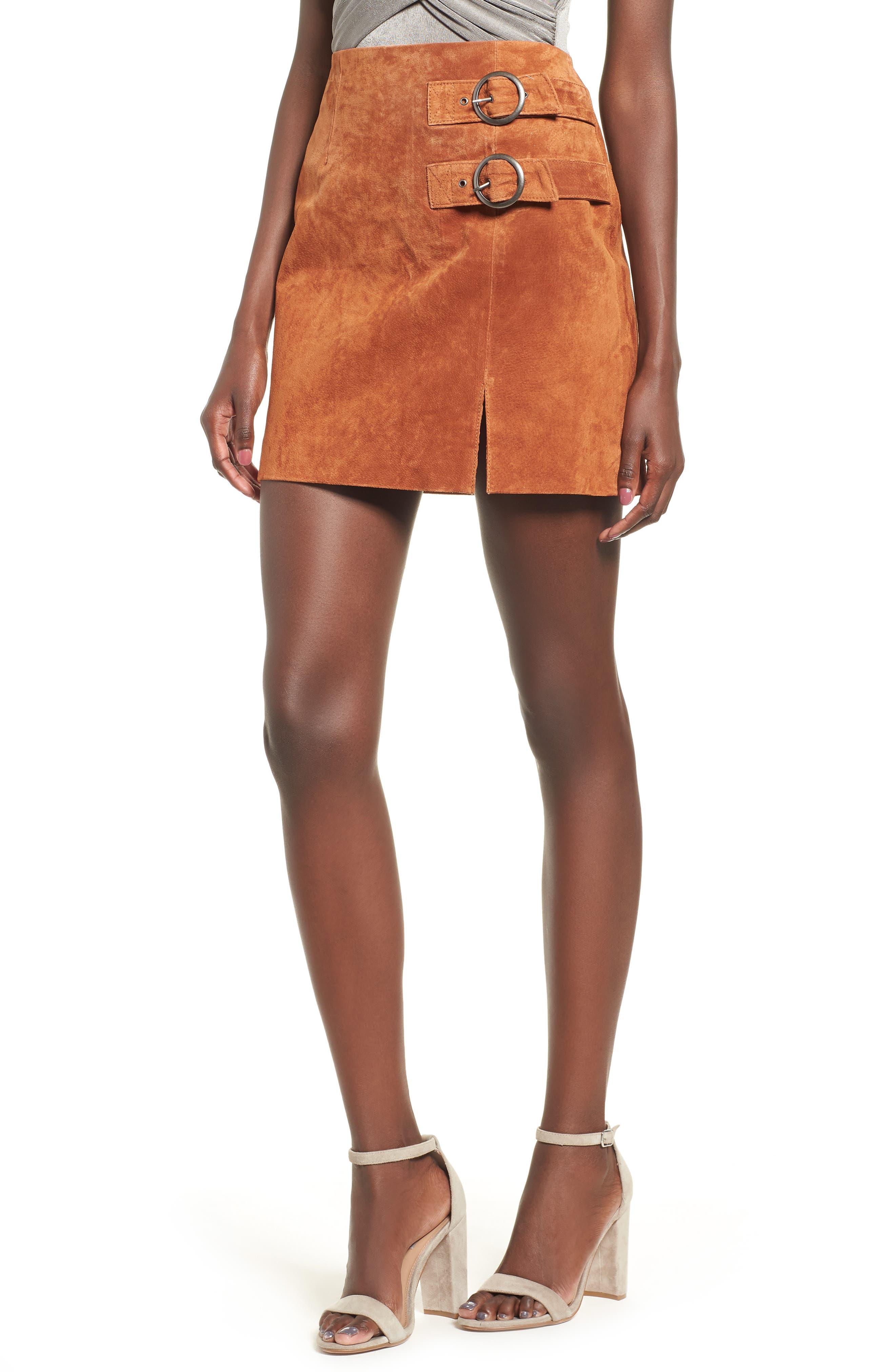 Double Buckle Suede Skirt,                         Main,                         color, EL DORADO