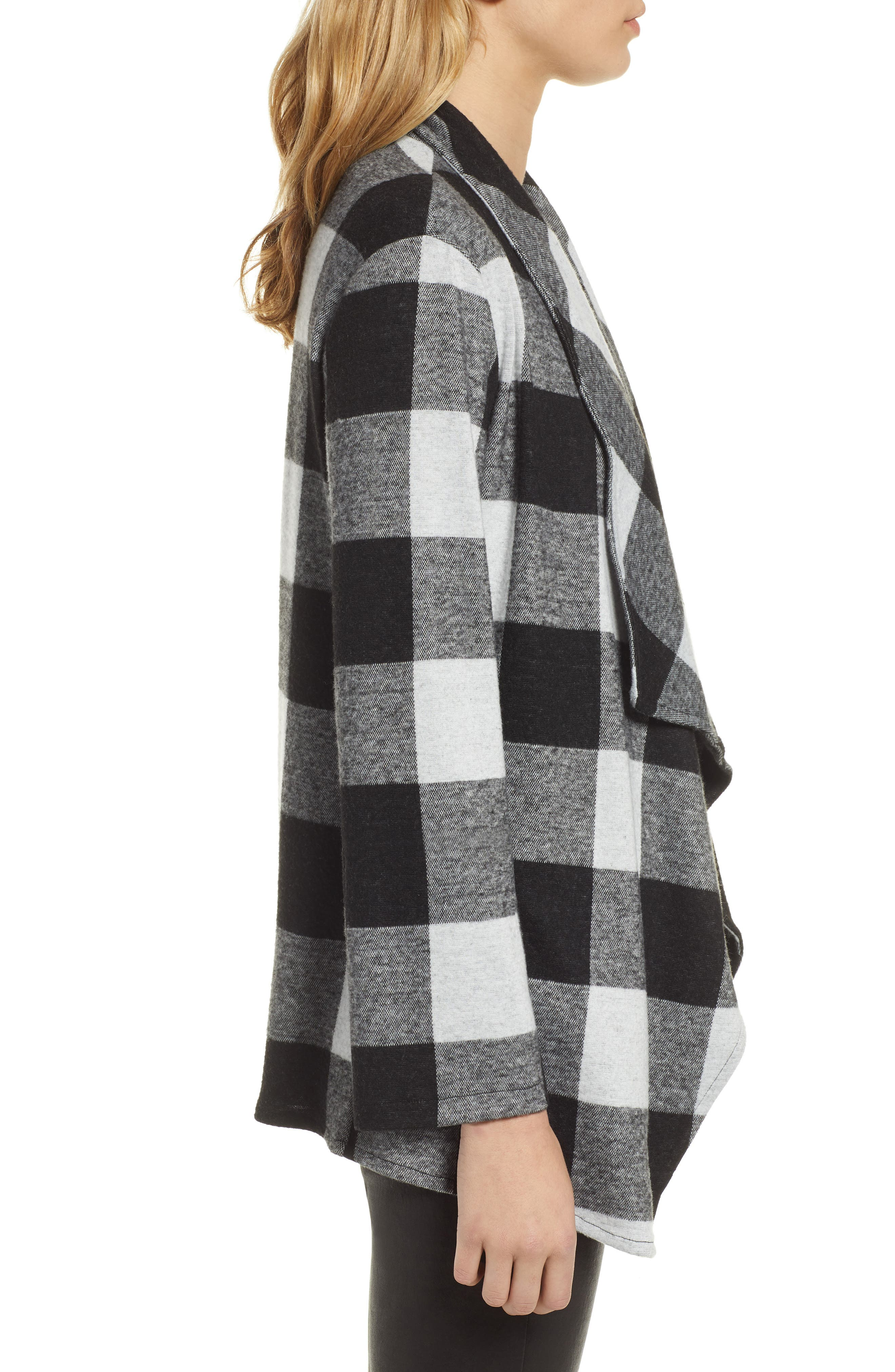 Checking It Open Front Knit Jacket,                             Alternate thumbnail 3, color,                             BLACK
