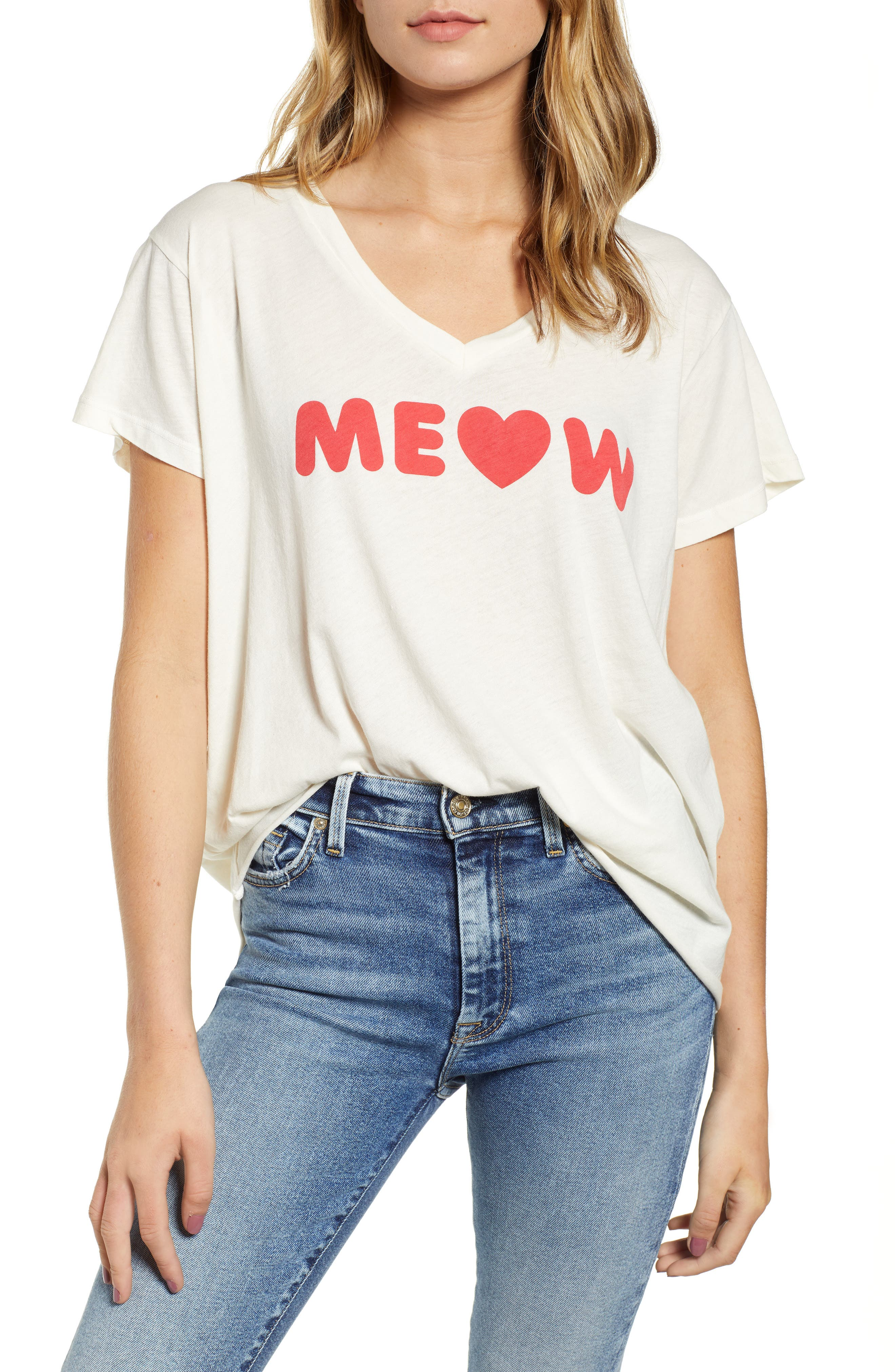 Romeo Meow V-Neck Tee,                             Main thumbnail 1, color,                             VINTAGE LA