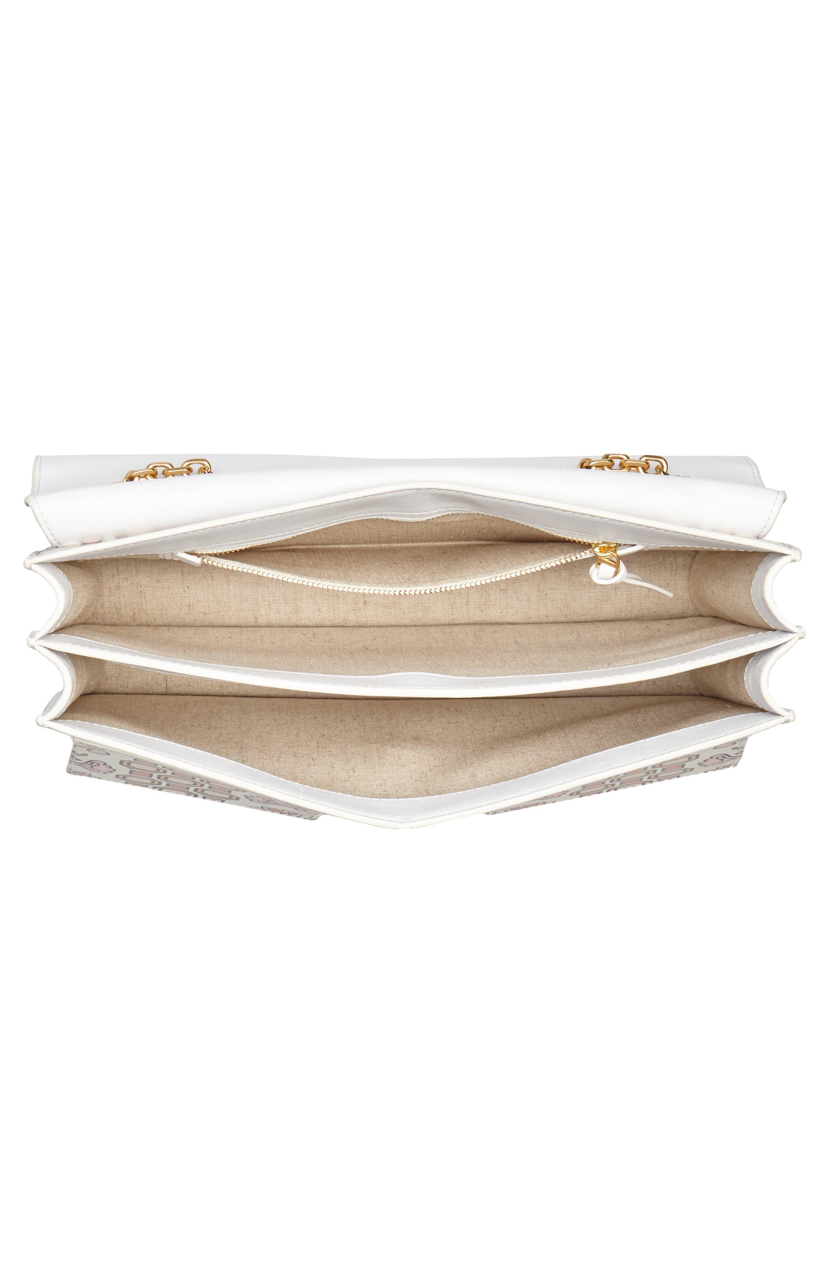 Large Gemini Link Print Leather Shoulder Bag,                             Alternate thumbnail 4, color,