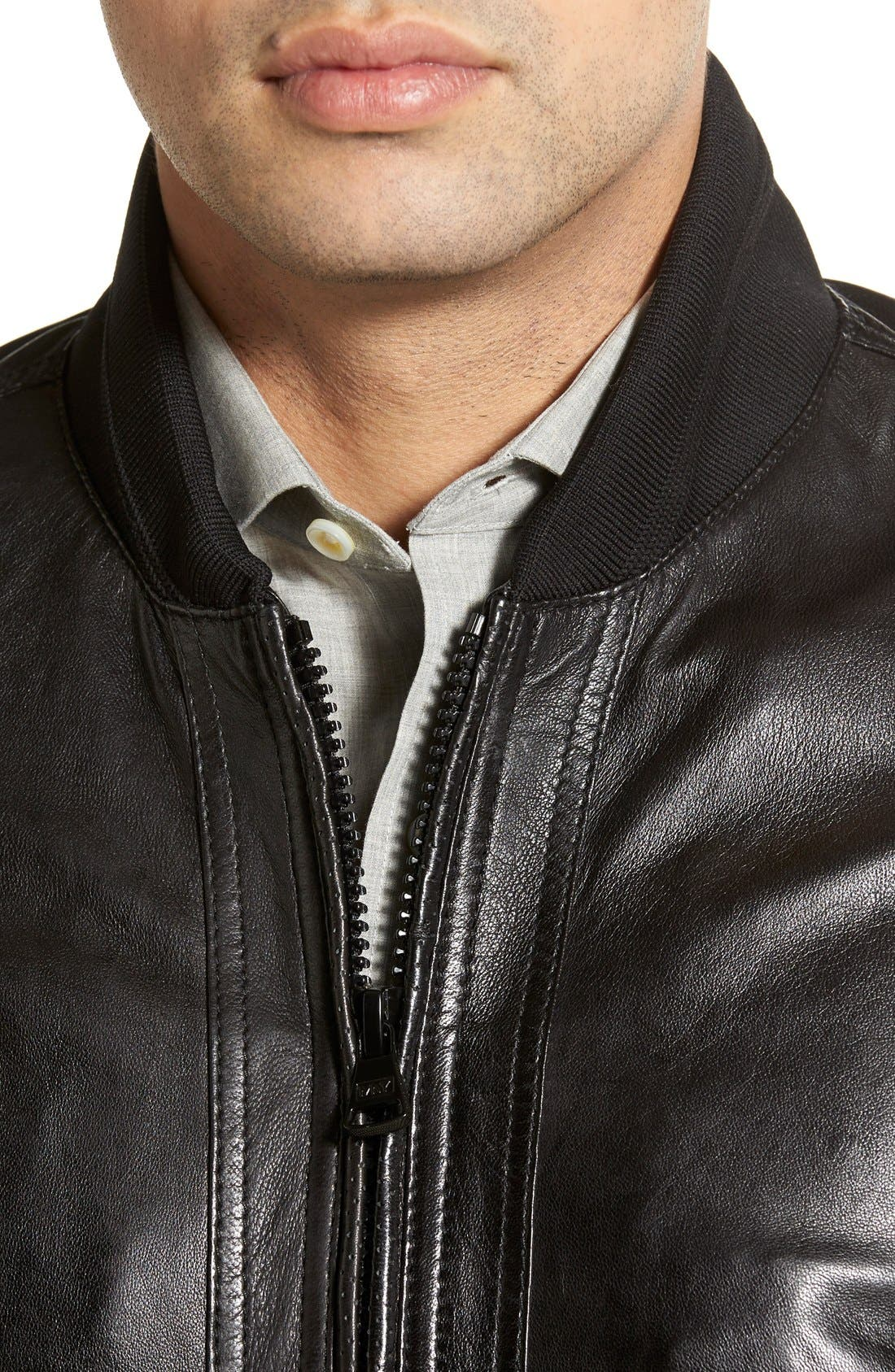 MARC NEW YORK,                             'Newport' Leather Bomber Jacket,                             Alternate thumbnail 3, color,                             001