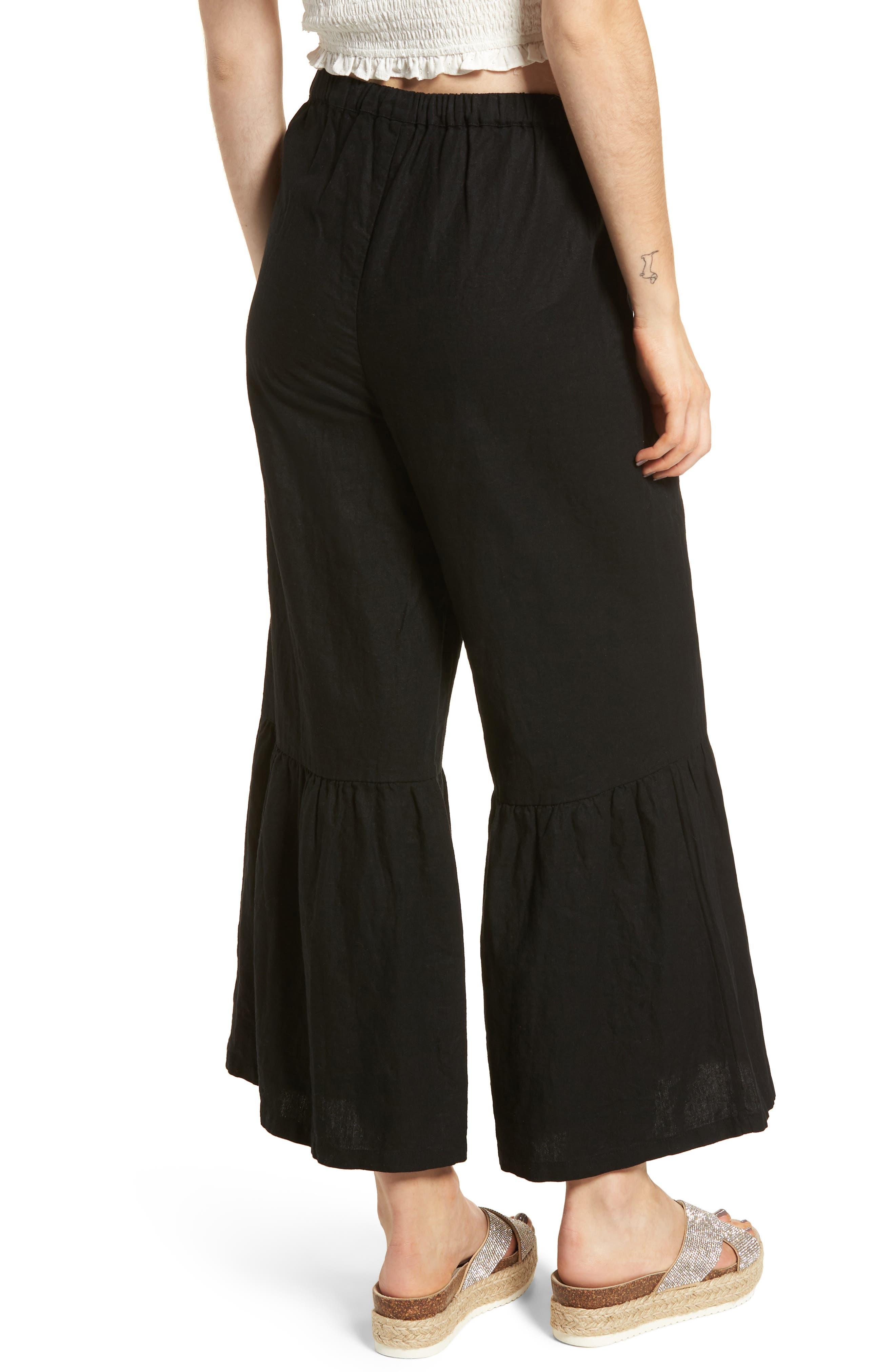 Ruffle Hem Linen Blend Crop Pants,                             Alternate thumbnail 2, color,                             001