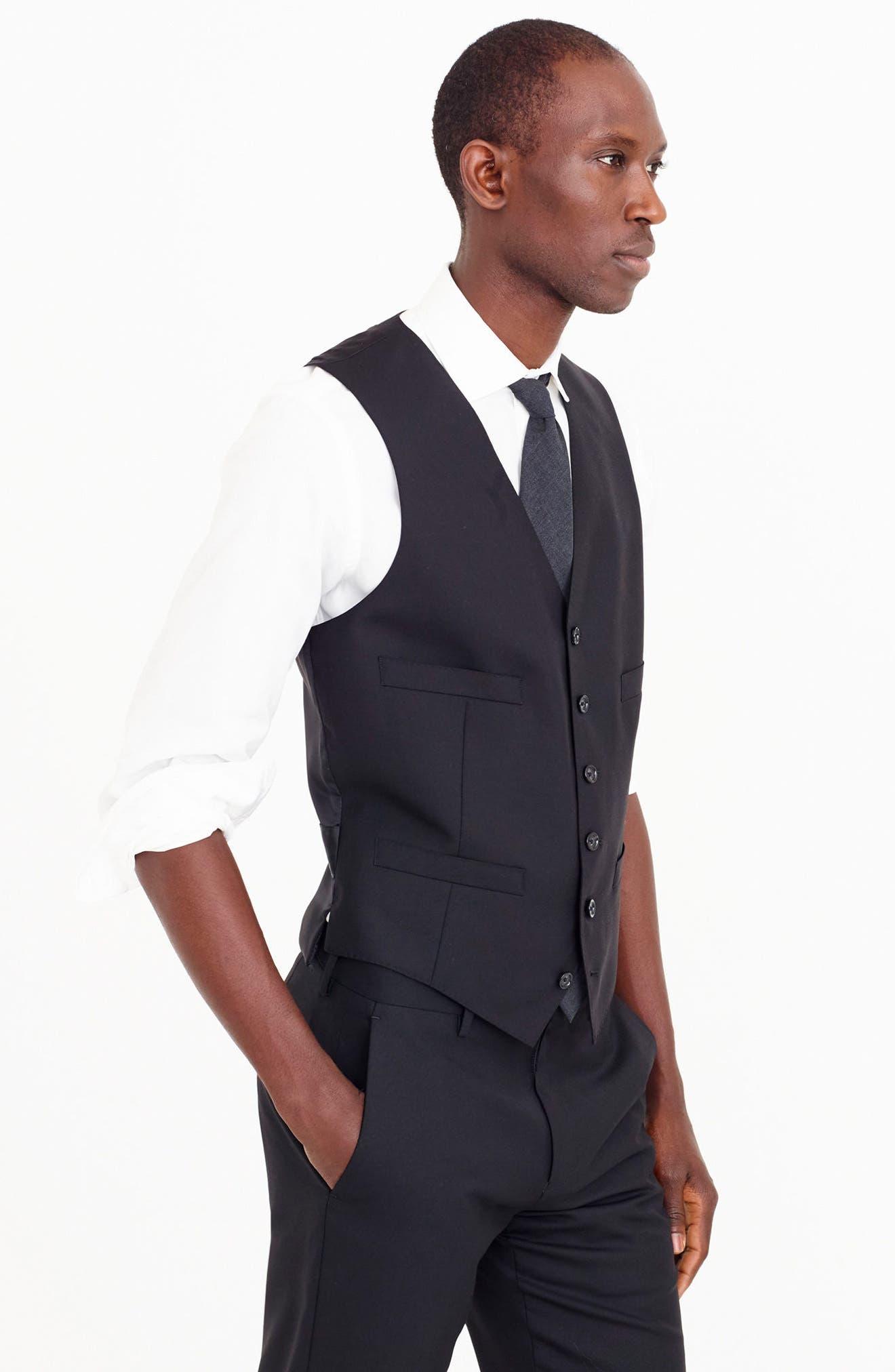 Ludlow Trim Fit Solid Wool Vest,                             Alternate thumbnail 11, color,                             001