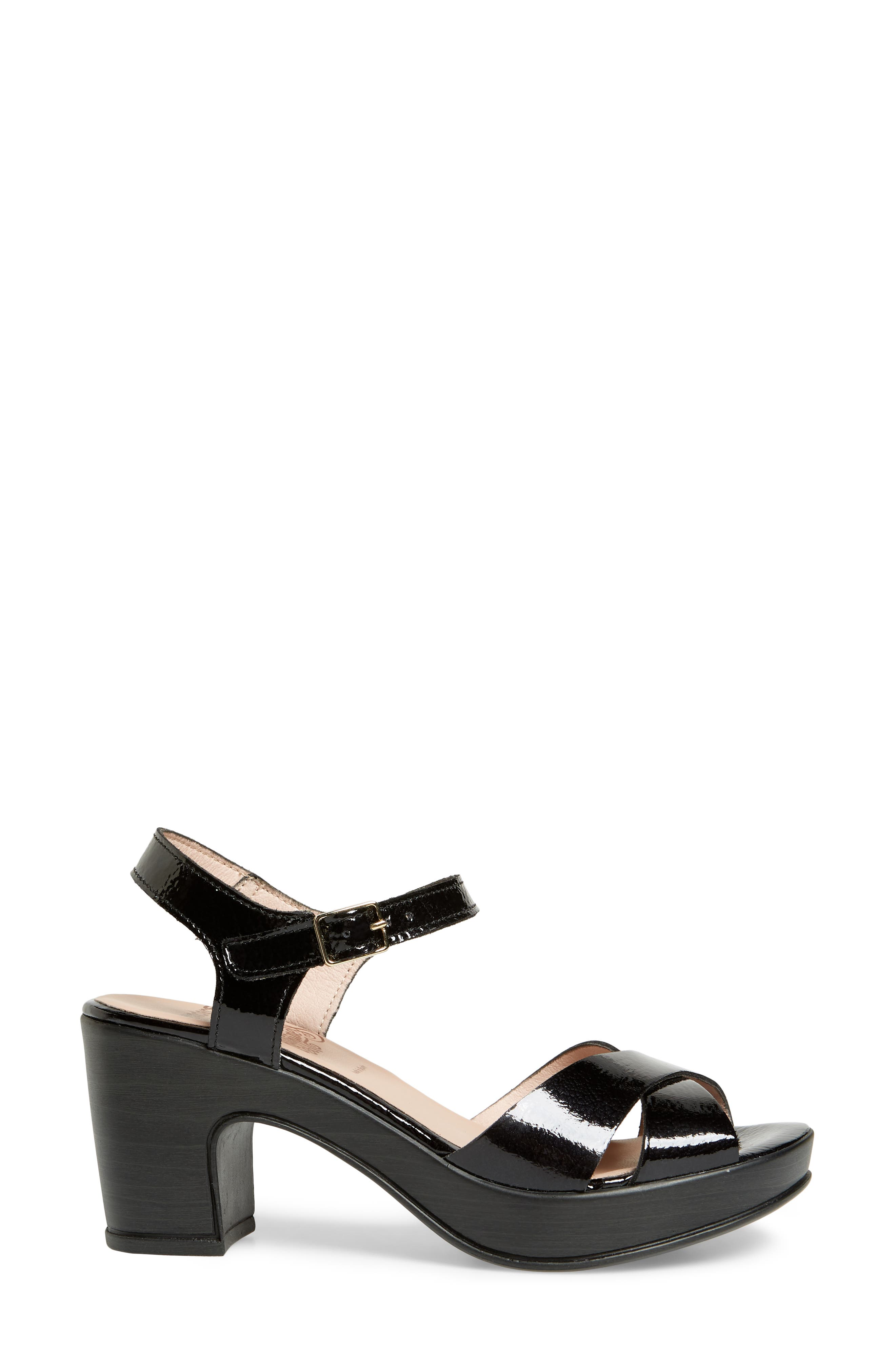 Platform Sandal,                             Alternate thumbnail 3, color,                             BLACK PATENT LEATHER