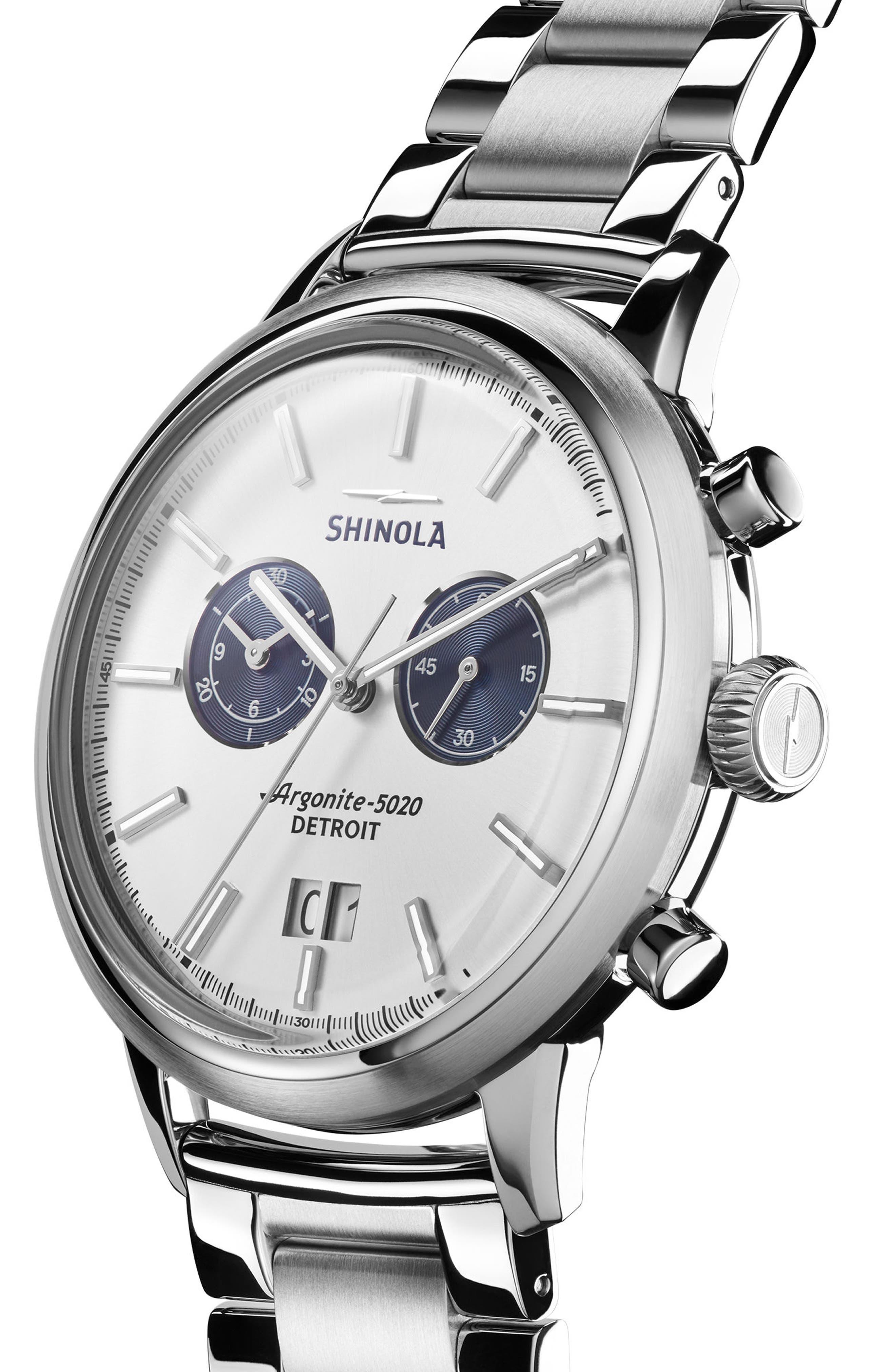 Bedrock Chronograph Bracelet Watch, 47mm,                             Alternate thumbnail 3, color,                             SILVER
