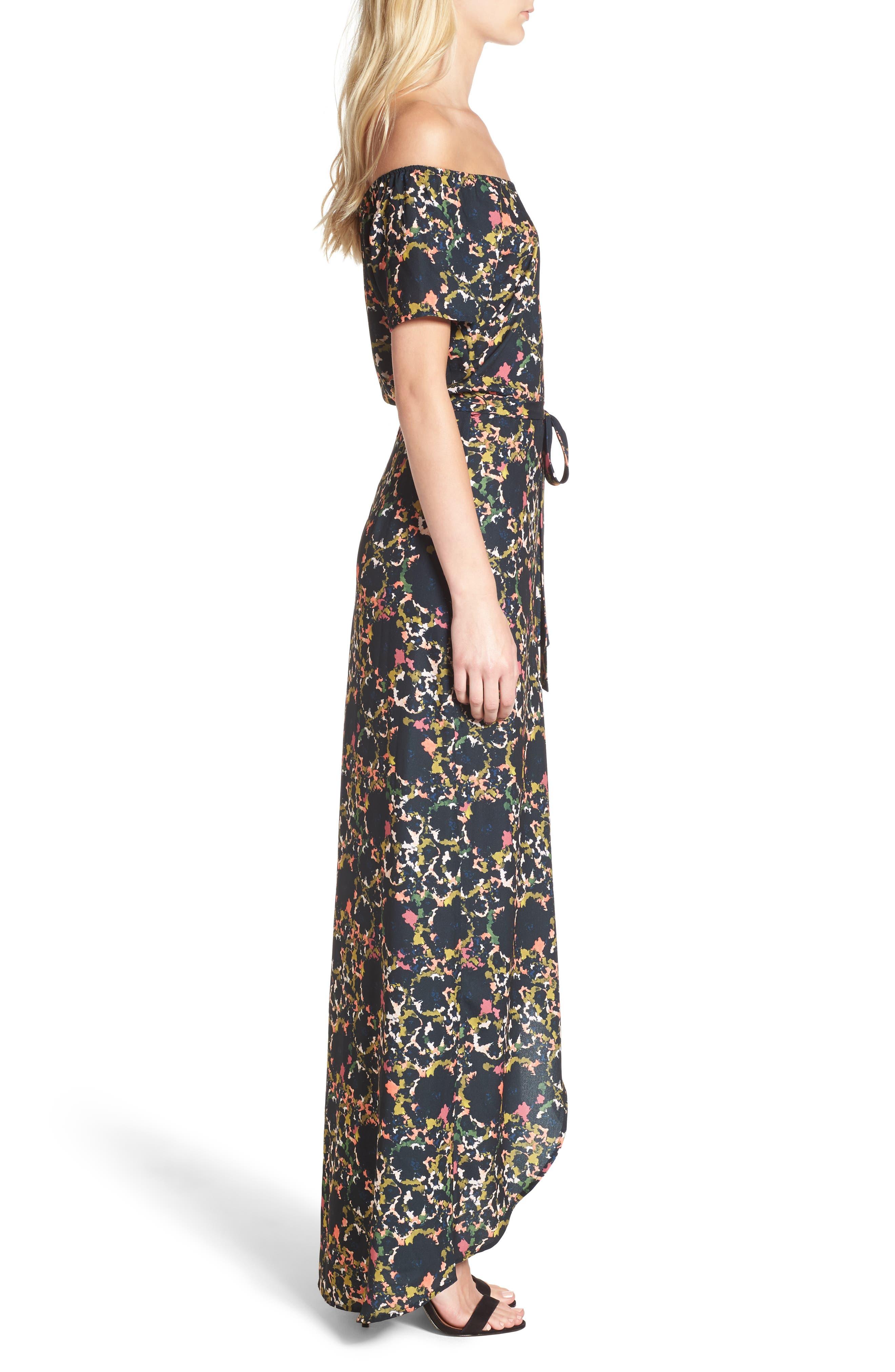 Off the Shoulder Crepe Maxi Dress,                             Alternate thumbnail 4, color,