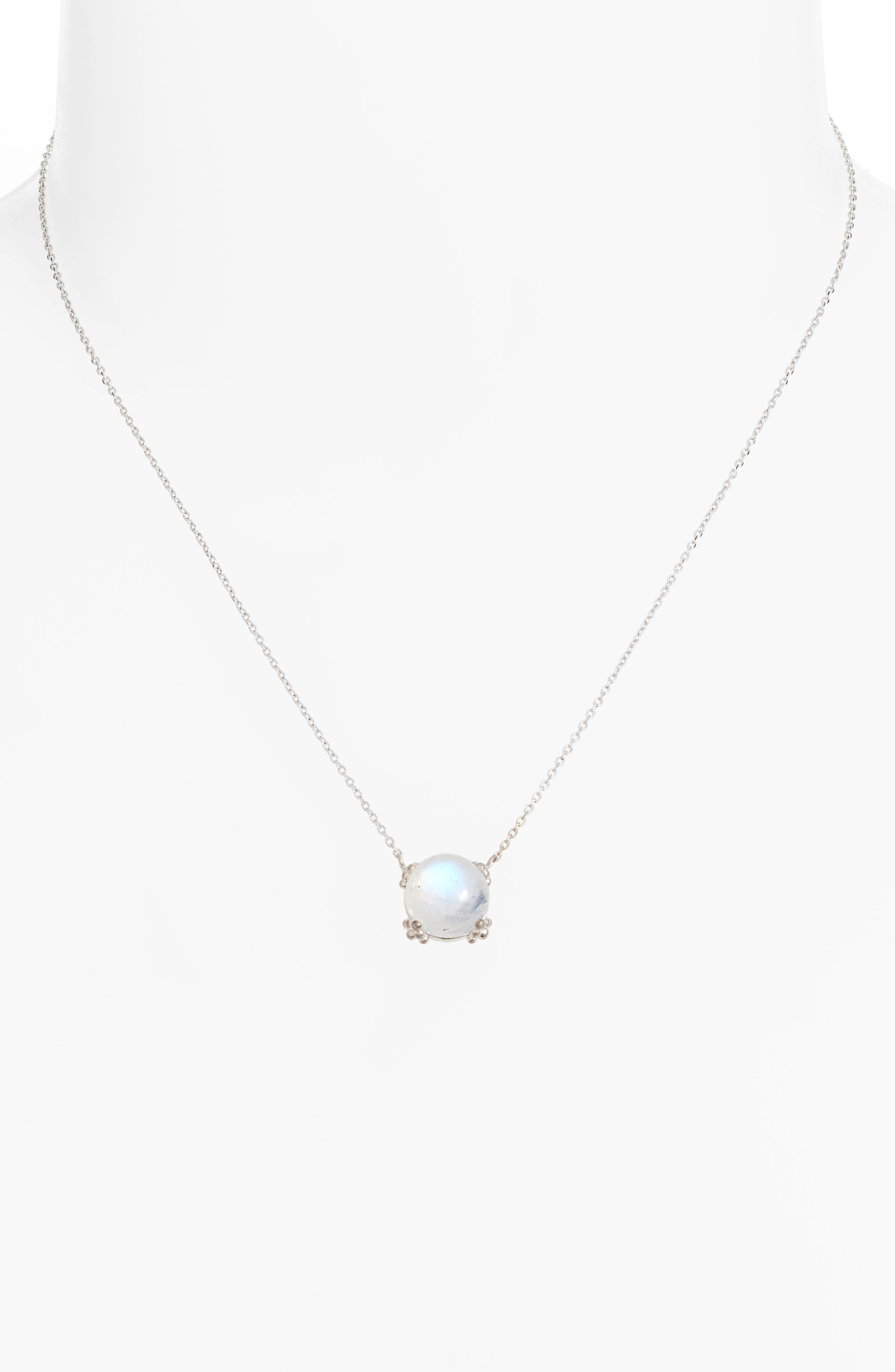 Dew Drop Cluster Moonstone Pendant Necklace,                             Alternate thumbnail 2, color,                             SILVER