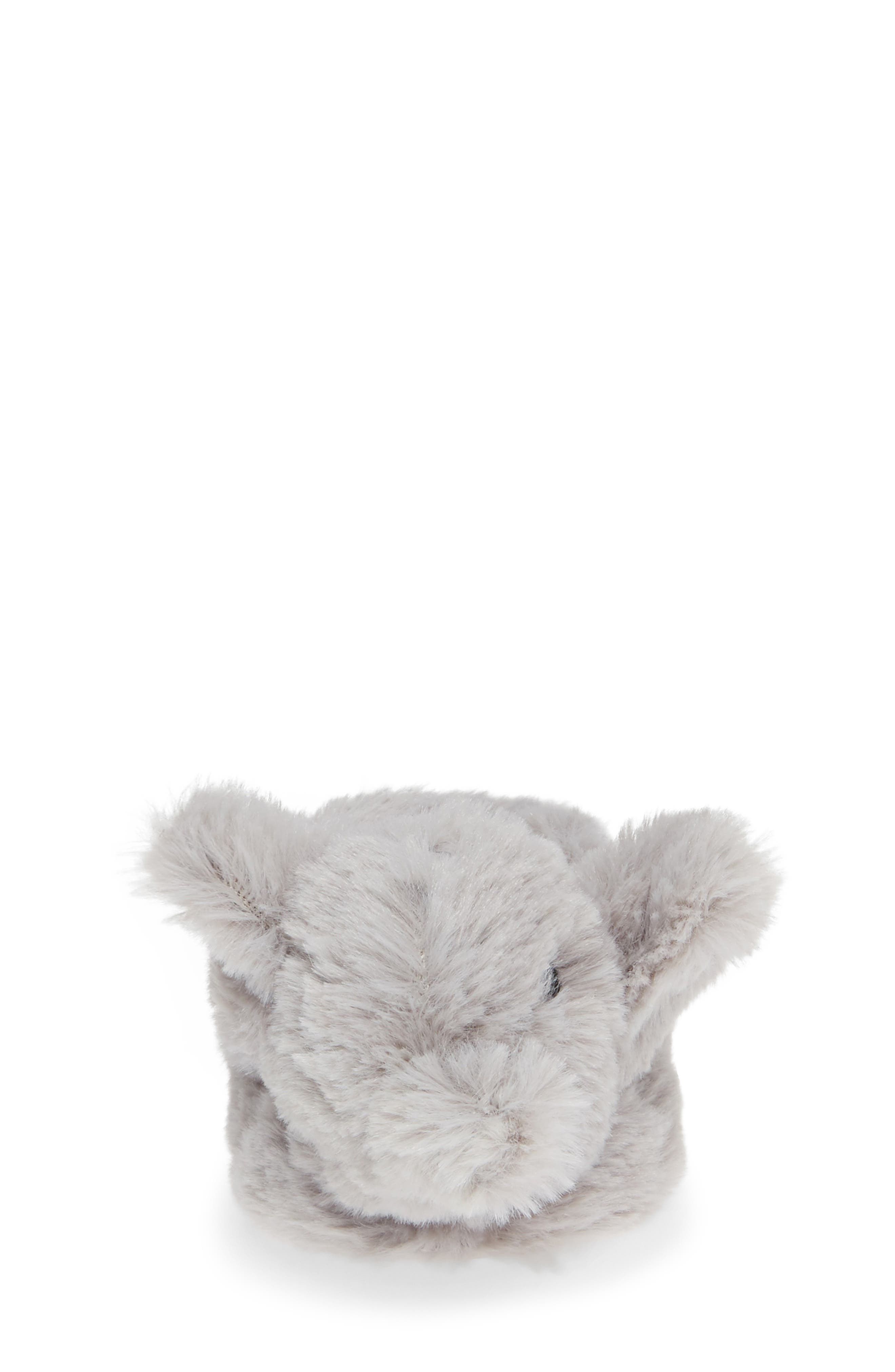 Faux Fur Animal Slipper,                             Alternate thumbnail 4, color,                             GREY ELEPHANT
