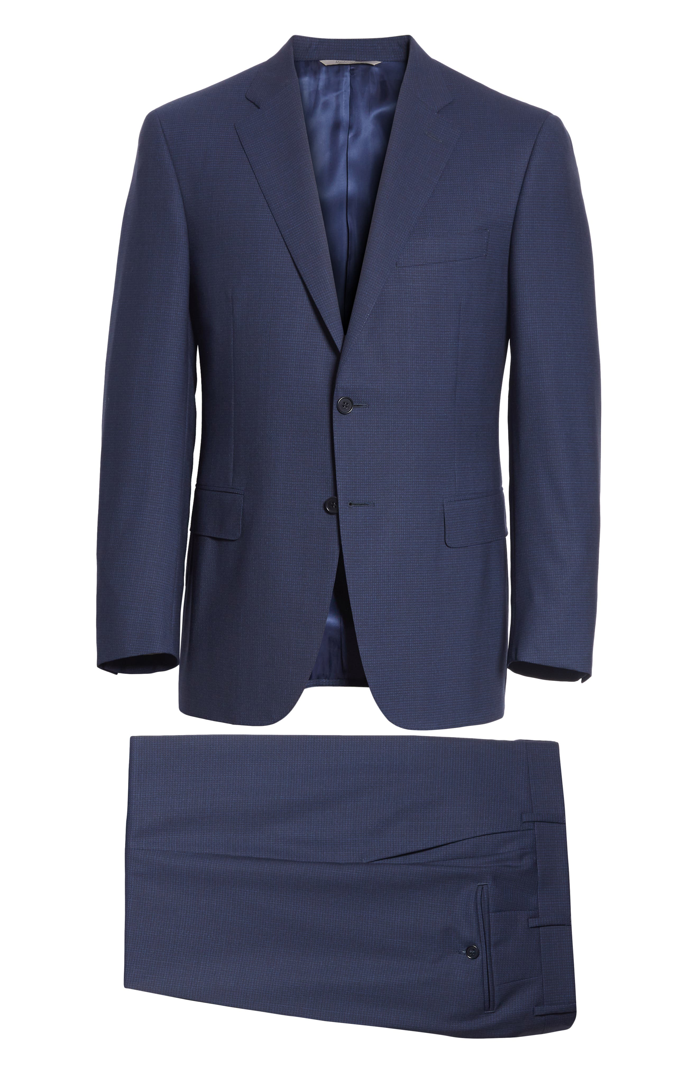 CANALI,                             Classic Fit Check Wool Suit,                             Alternate thumbnail 7, color,                             400