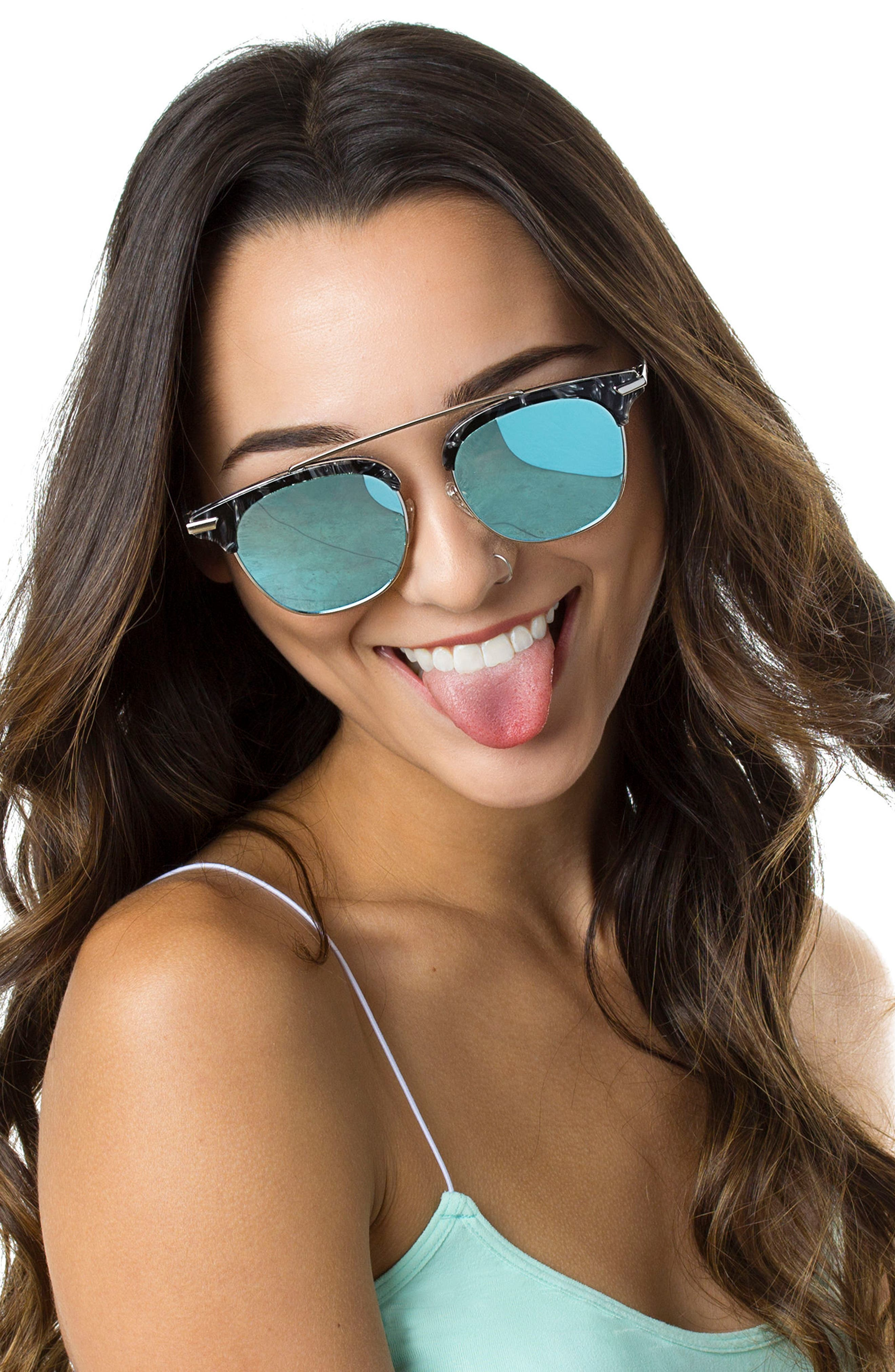 Midway 51mm Polarized Brow Bar Sunglasses,                             Alternate thumbnail 4, color,                             BLUE