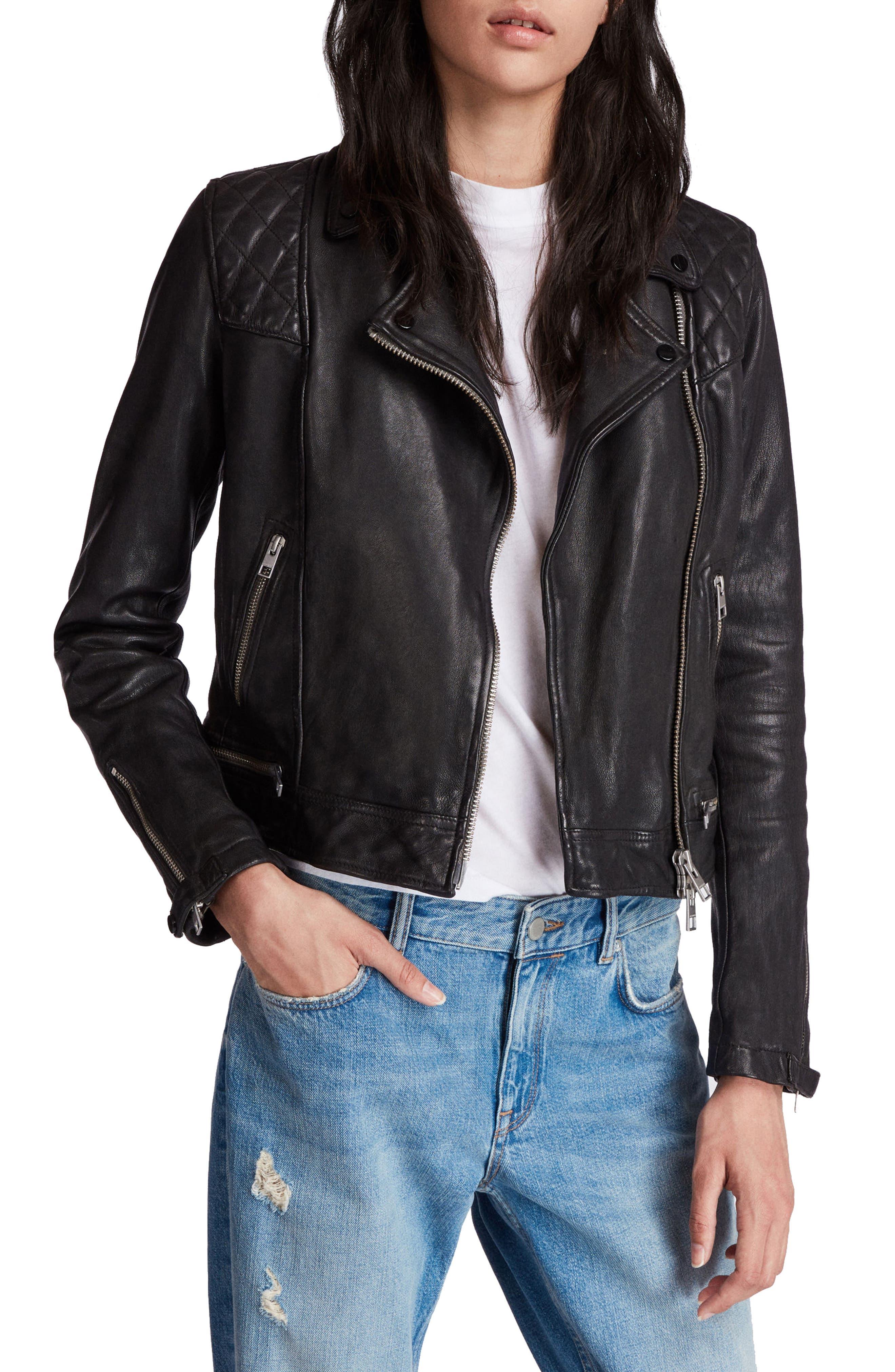 Conroy Leather Biker Jacket,                             Main thumbnail 1, color,                             INK