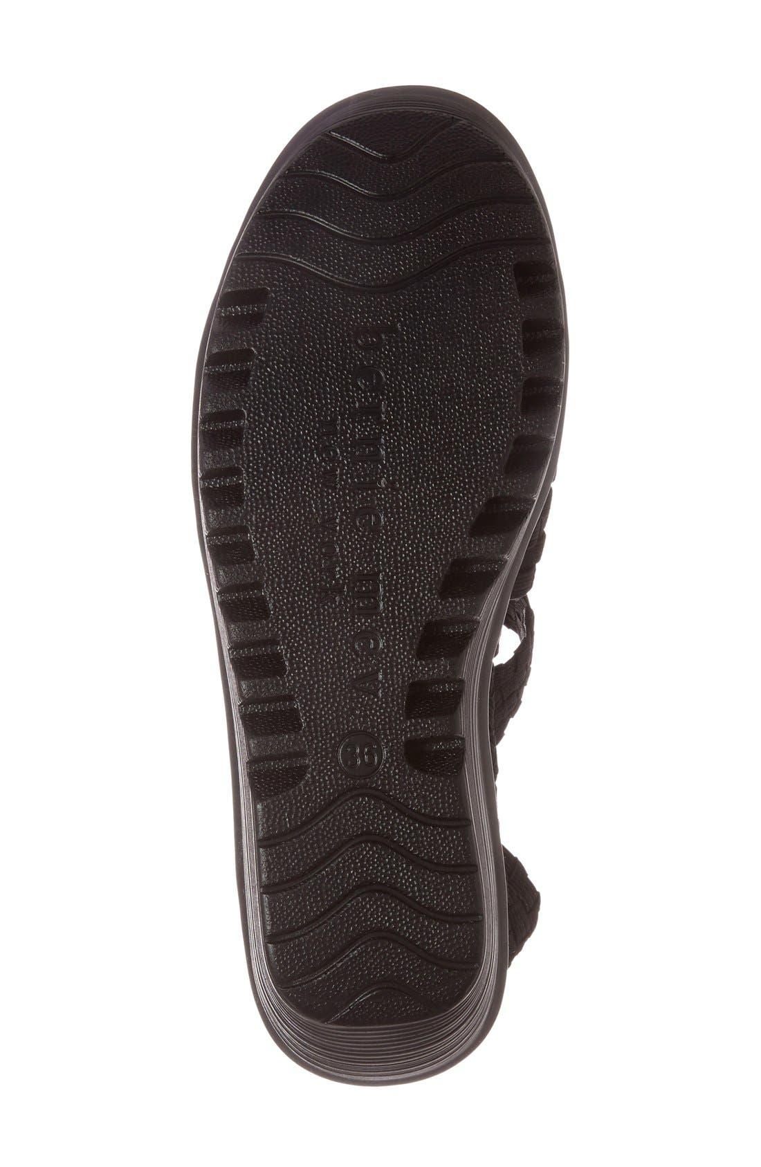 BERNIE MEV.,                             'Buttercup' Woven Platform Wedge Sandal,                             Alternate thumbnail 4, color,                             BLACK FABRIC