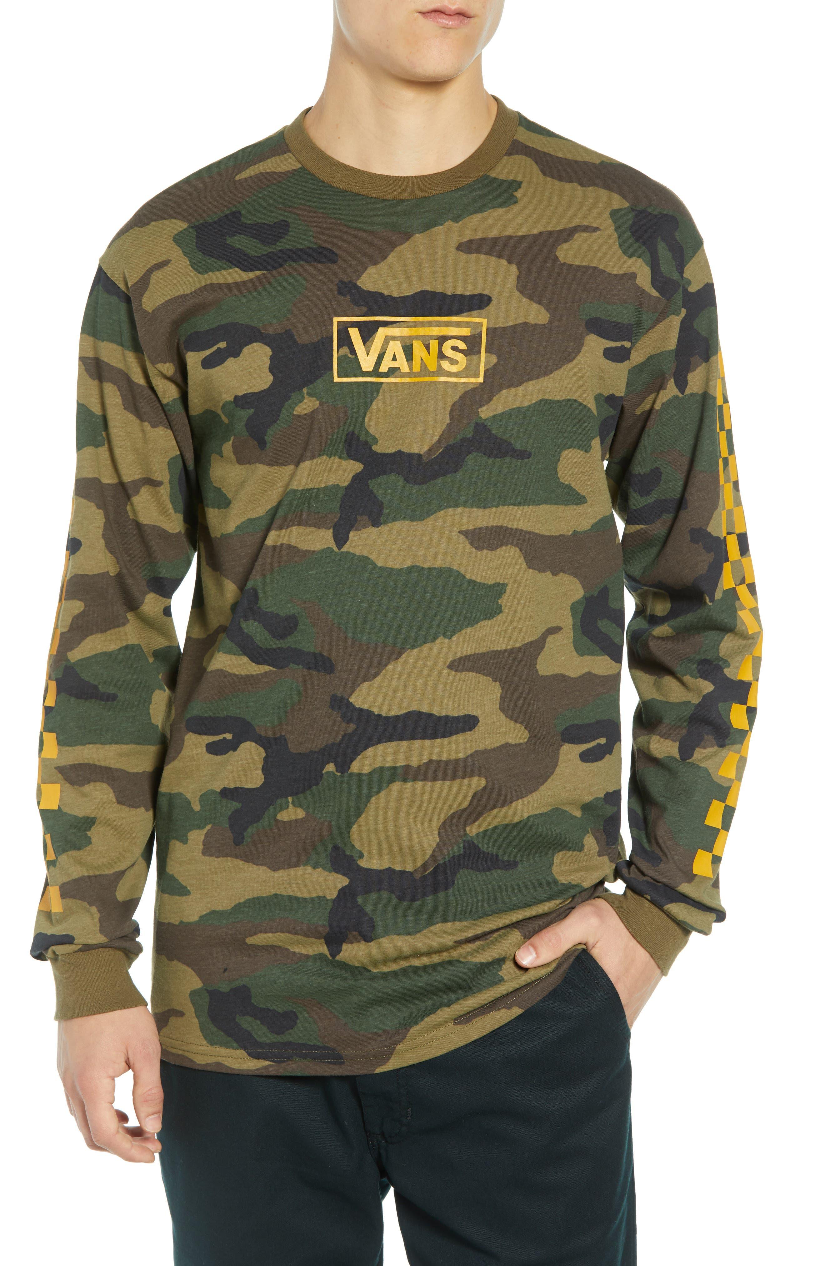 Check Print Long Sleeve Camo T-Shirt,                         Main,                         color, CAMO