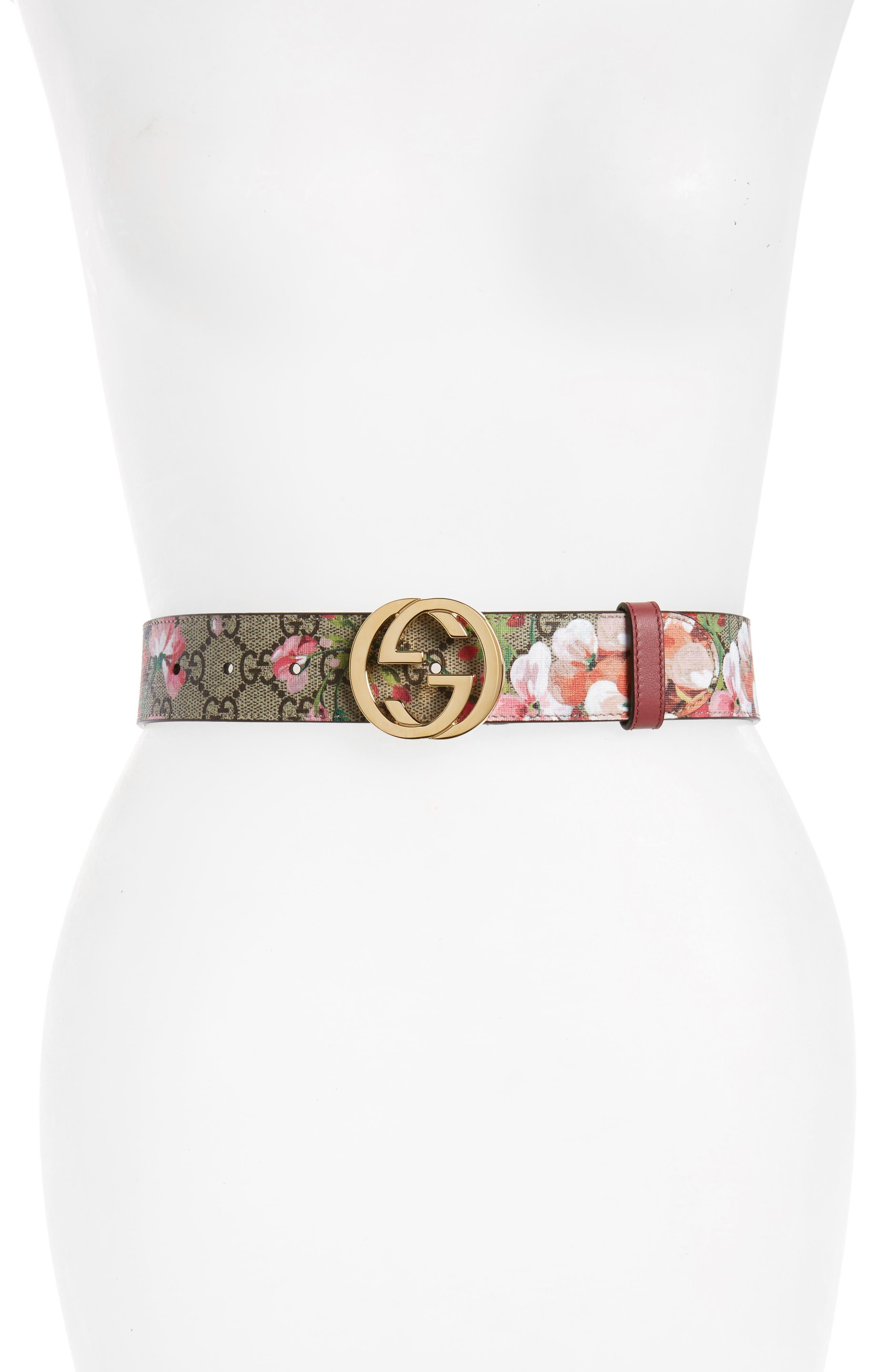 Rose Leather Belt,                             Main thumbnail 1, color,                             MULTI/ DRY ROSE
