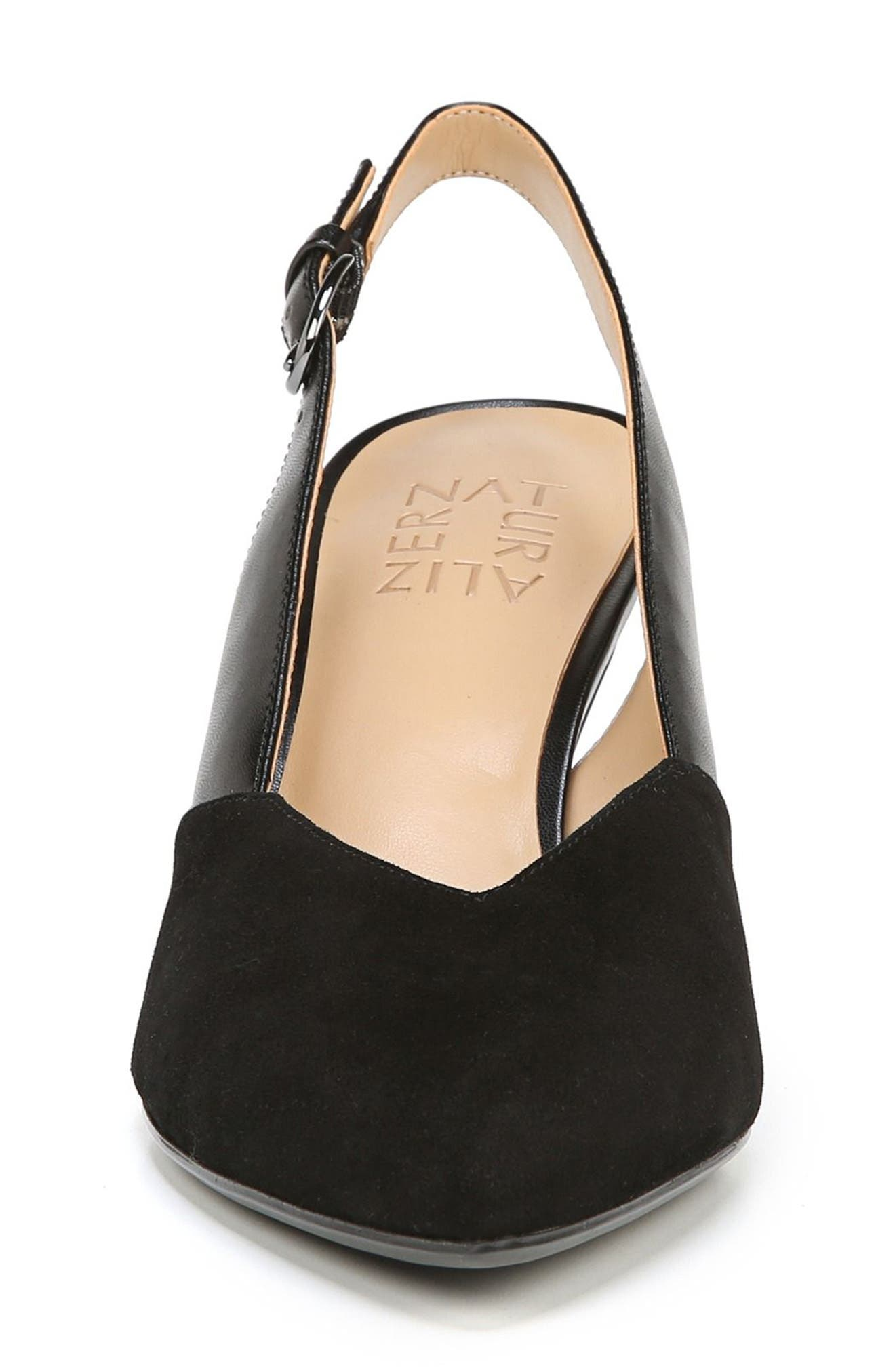Nelle Slingback Pump,                             Alternate thumbnail 4, color,                             BLACK SUEDE