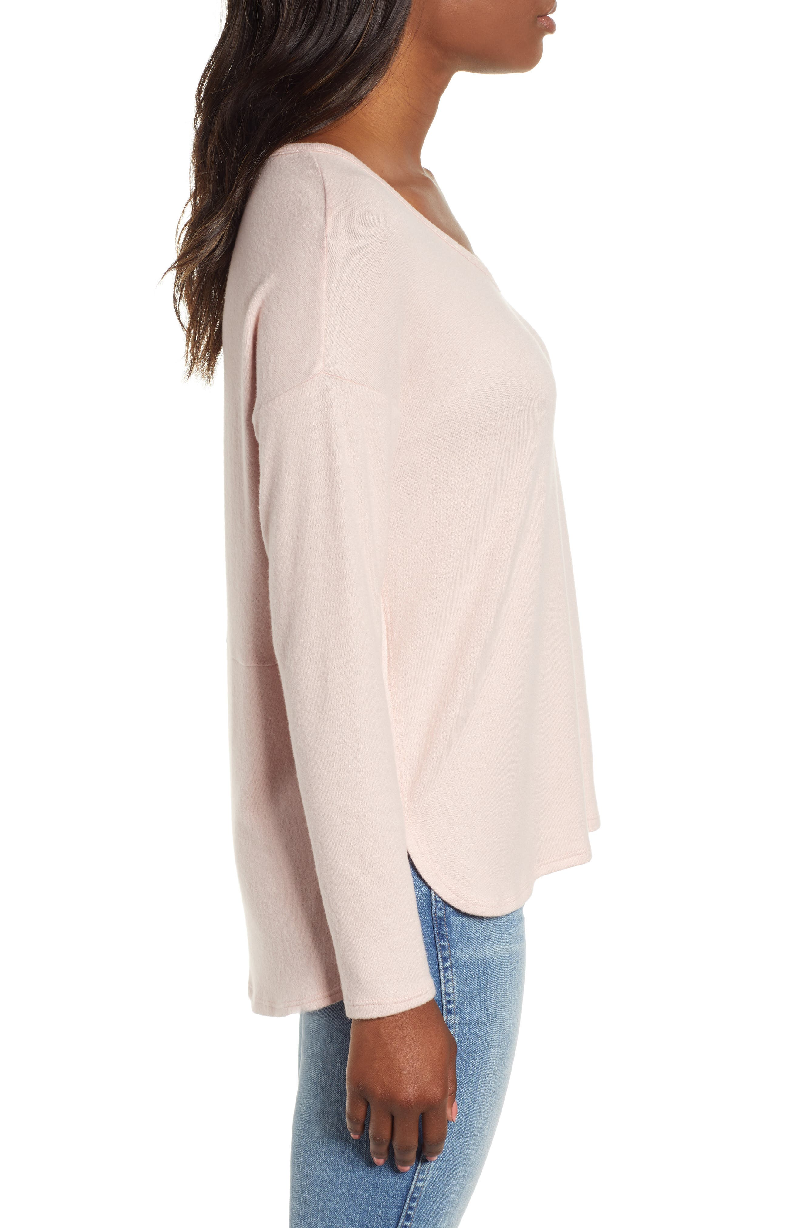 Cozy V-Neck Top,                             Alternate thumbnail 3, color,                             PINK SMOKE