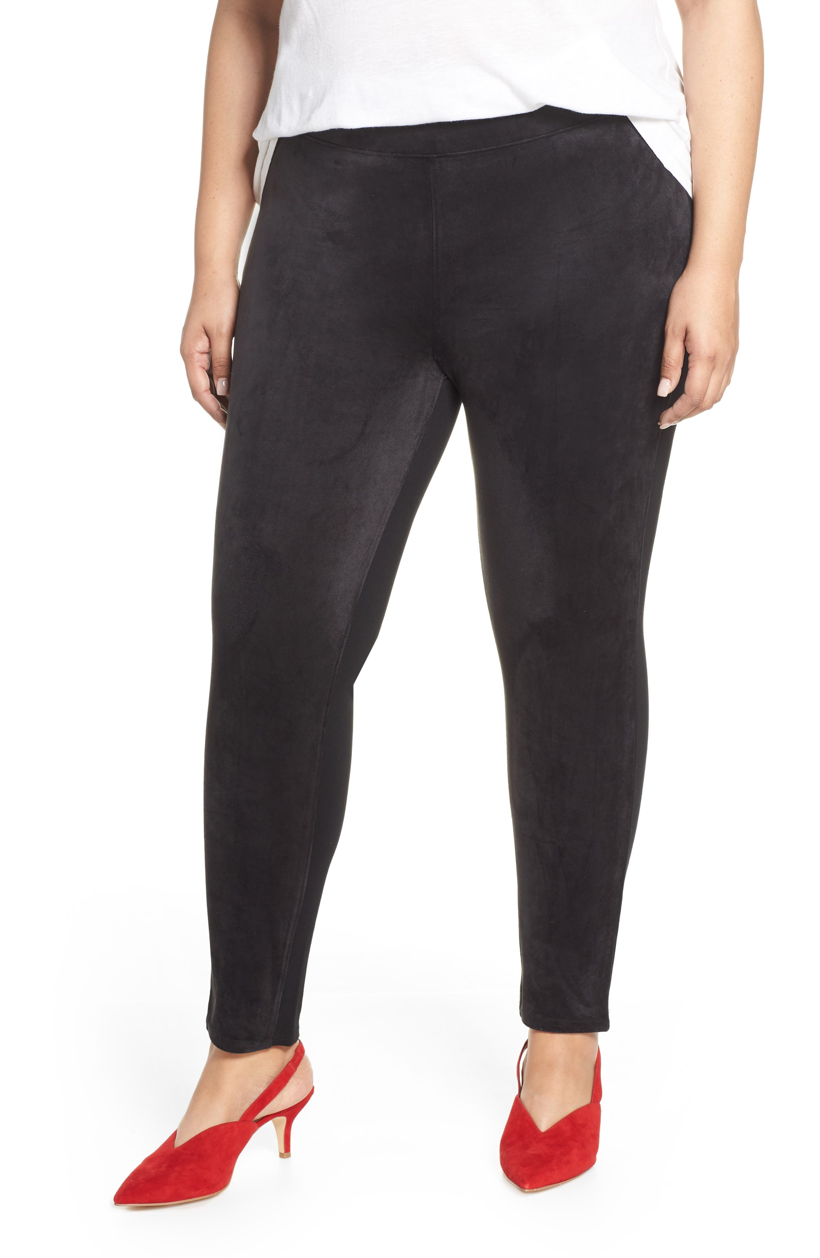 SEVEN7 High Rise Pull-On Vegan Leather Pants, Main, color, CAVIAR