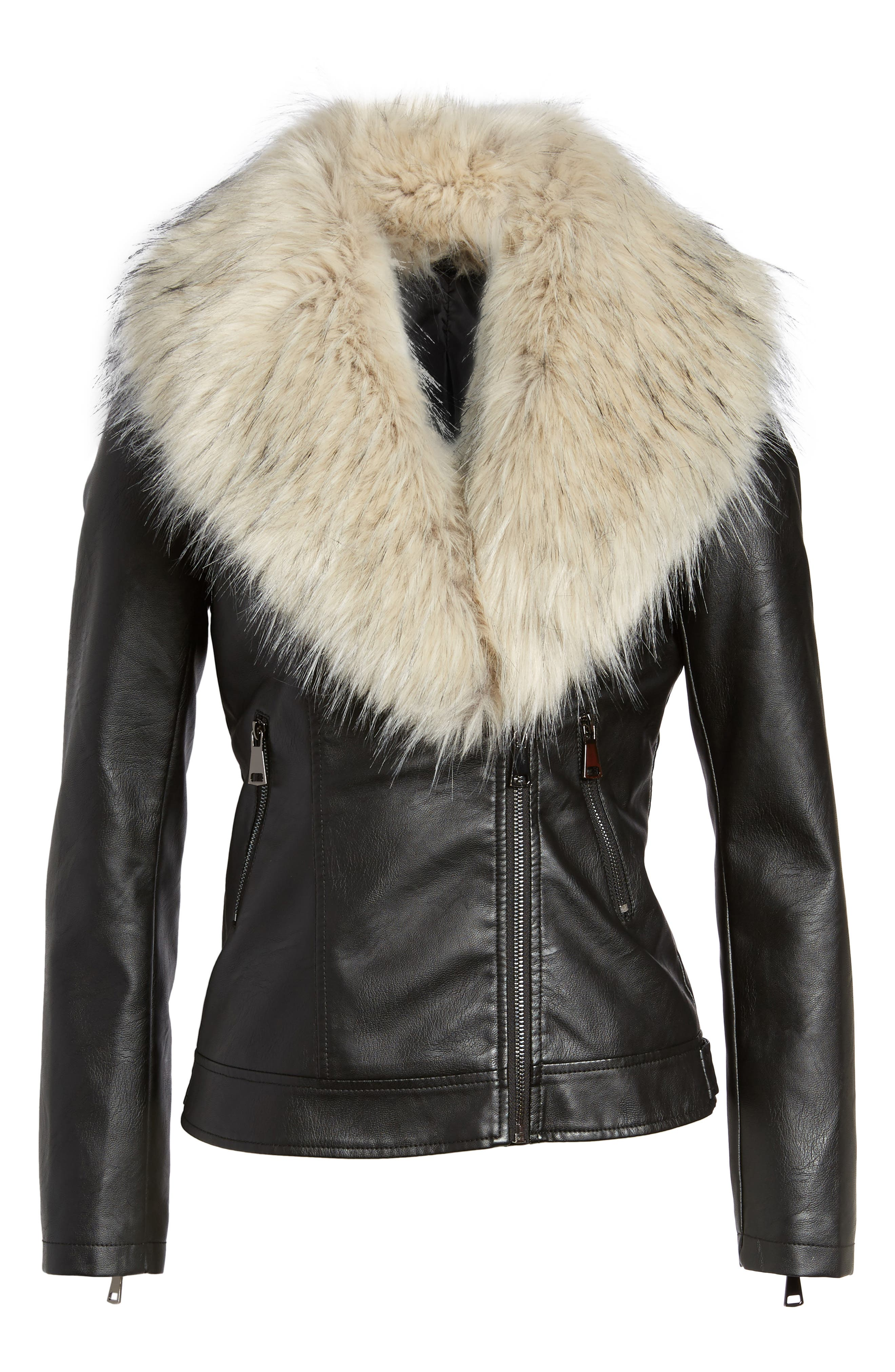 Faux Leather Jacket with Removable Faux Fur Collar,                             Alternate thumbnail 9, color,
