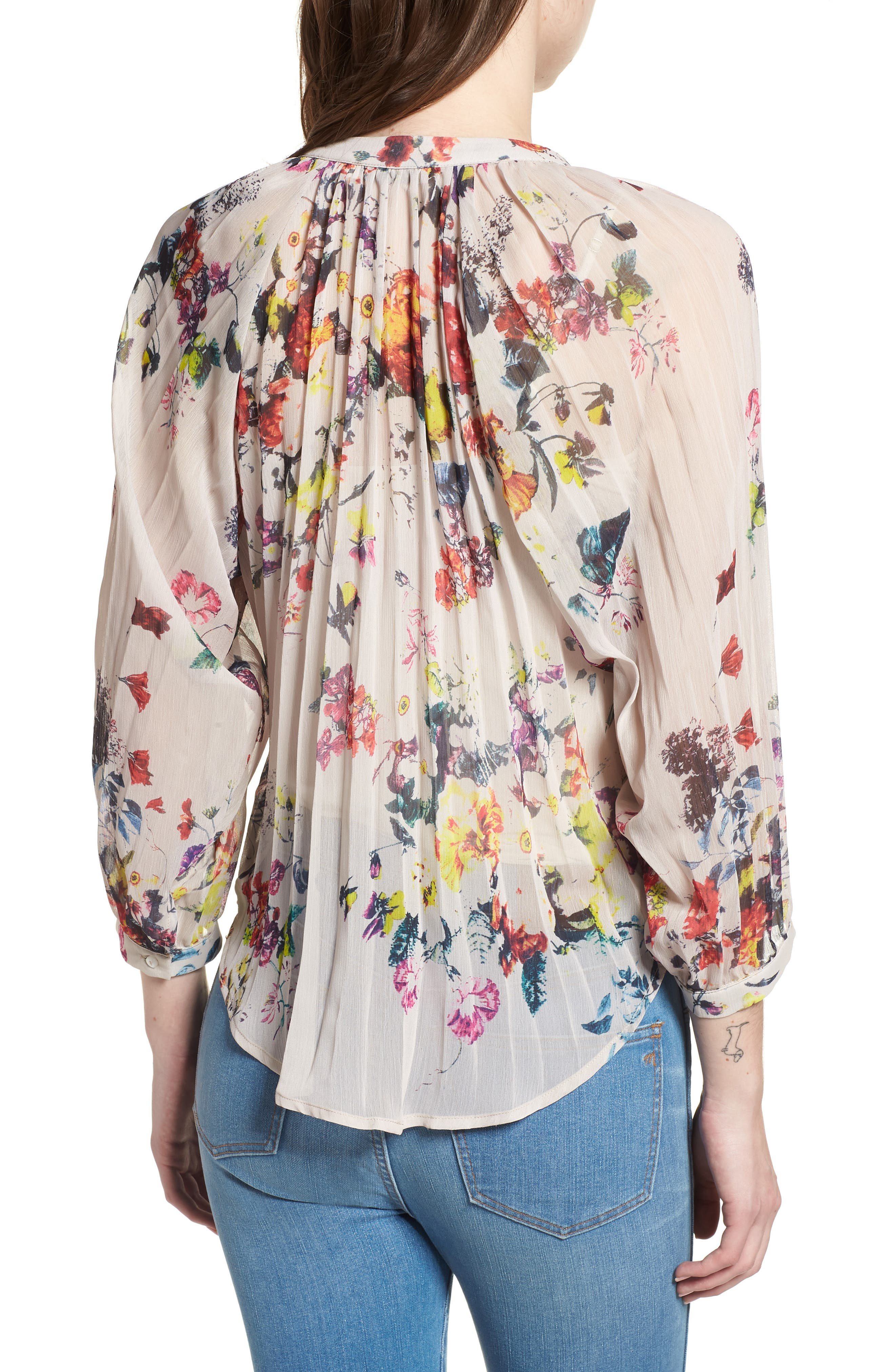Bishop + Young Floral Pleated Top,                             Alternate thumbnail 2, color,