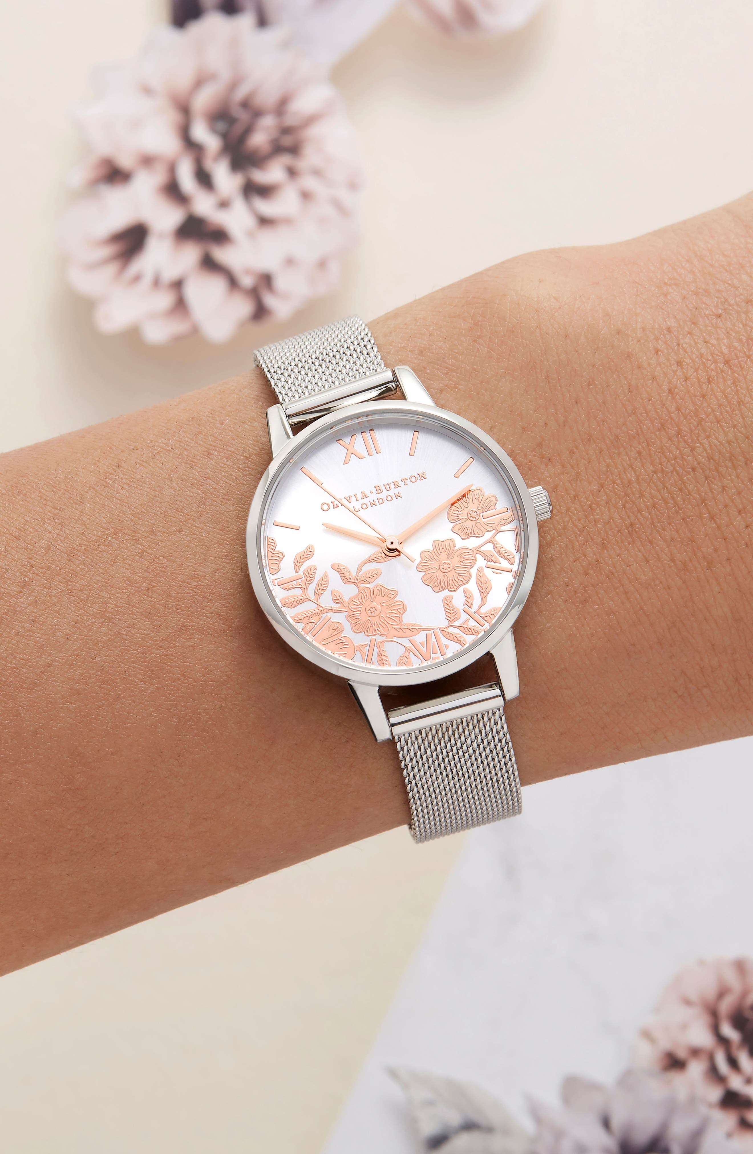 Lace Detail Mesh Strap Watch, 30mm,                             Alternate thumbnail 4, color,                             SILVER/ LACE/ SILVER