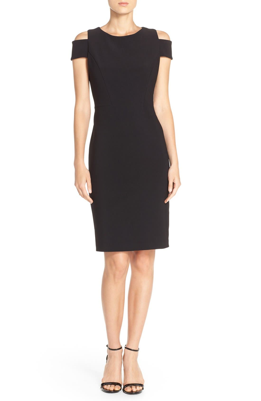Cold Shoulder Crepe Sheath Dress,                             Alternate thumbnail 8, color,