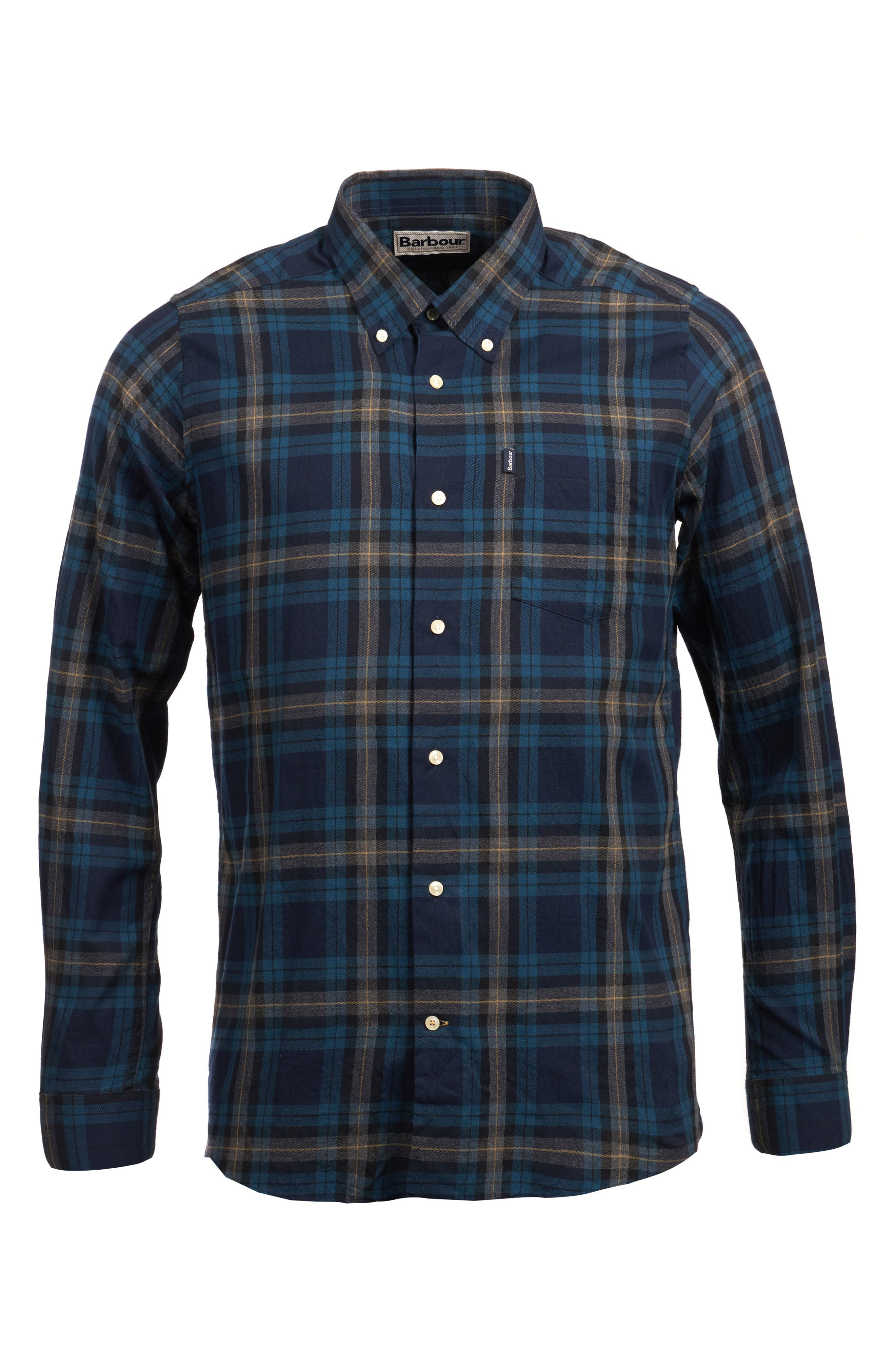 Stapleton Highland Check Sport Shirt,                             Alternate thumbnail 5, color,                             NAVY