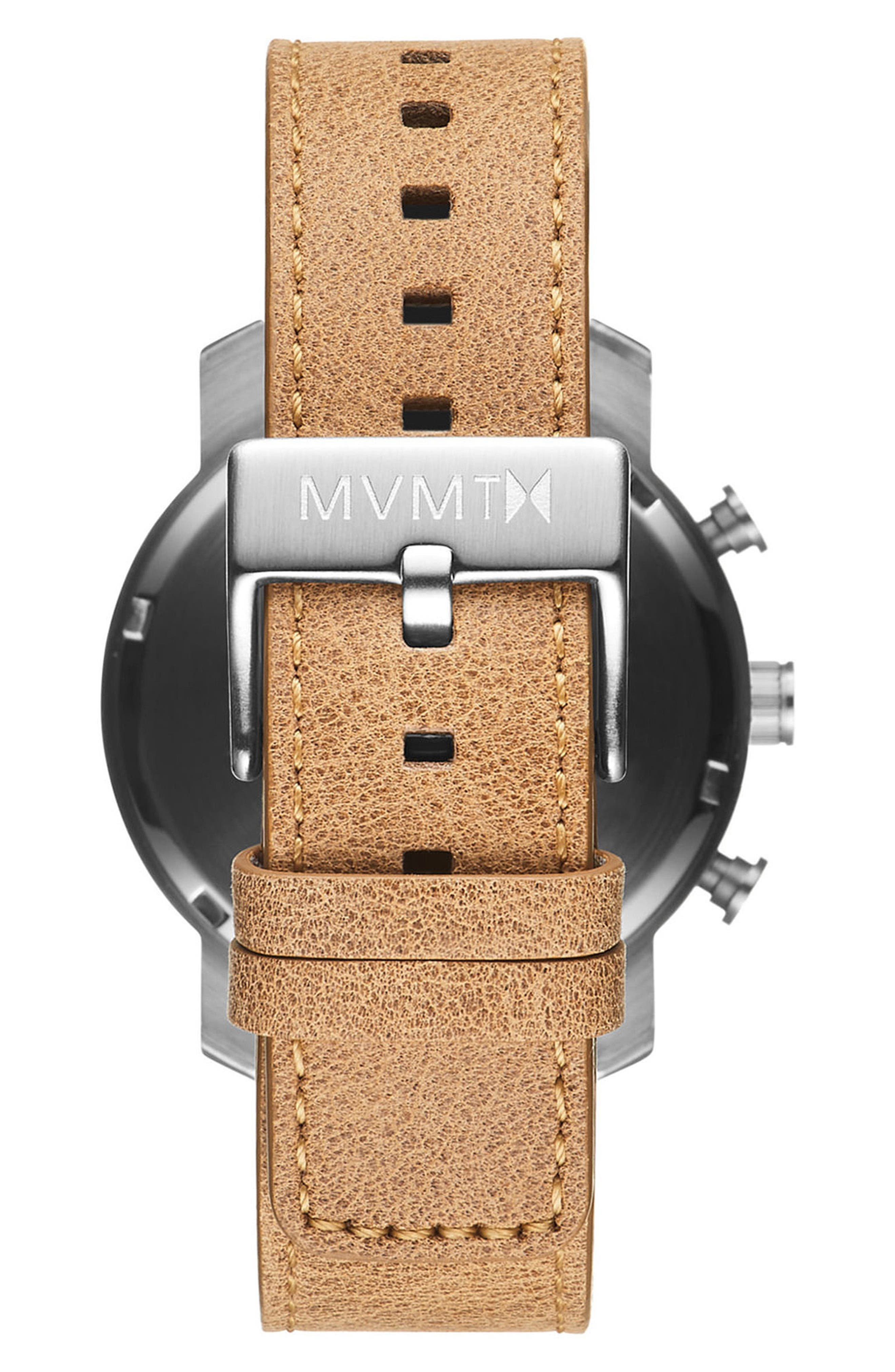The Chrono Chronograph Leather Strap Watch, 40mm,                             Alternate thumbnail 2, color,                             CARAMEL/ WHITE
