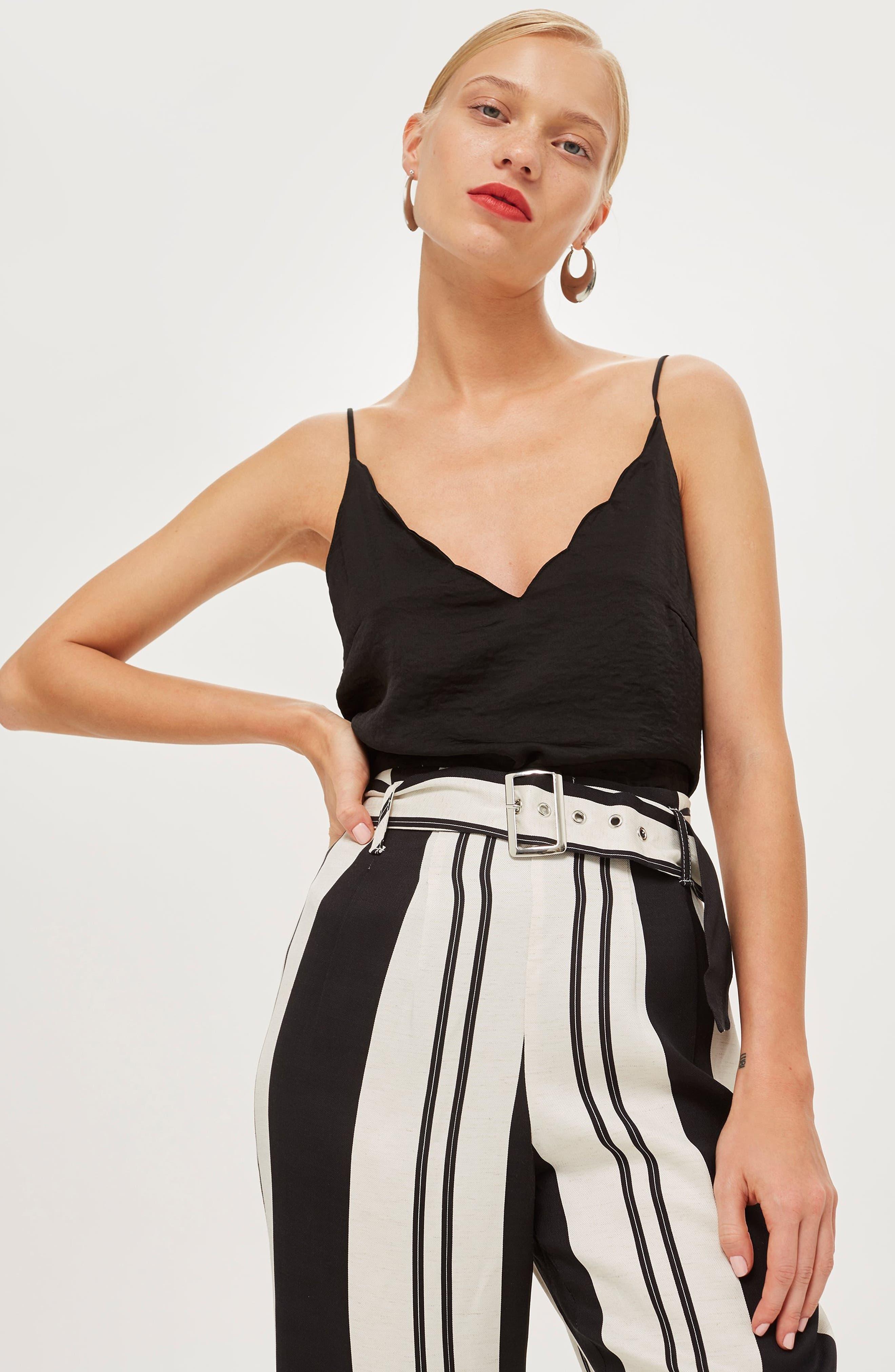 Dolly Stripe Tapered Trousers,                             Alternate thumbnail 6, color,                             BLACK MULTI