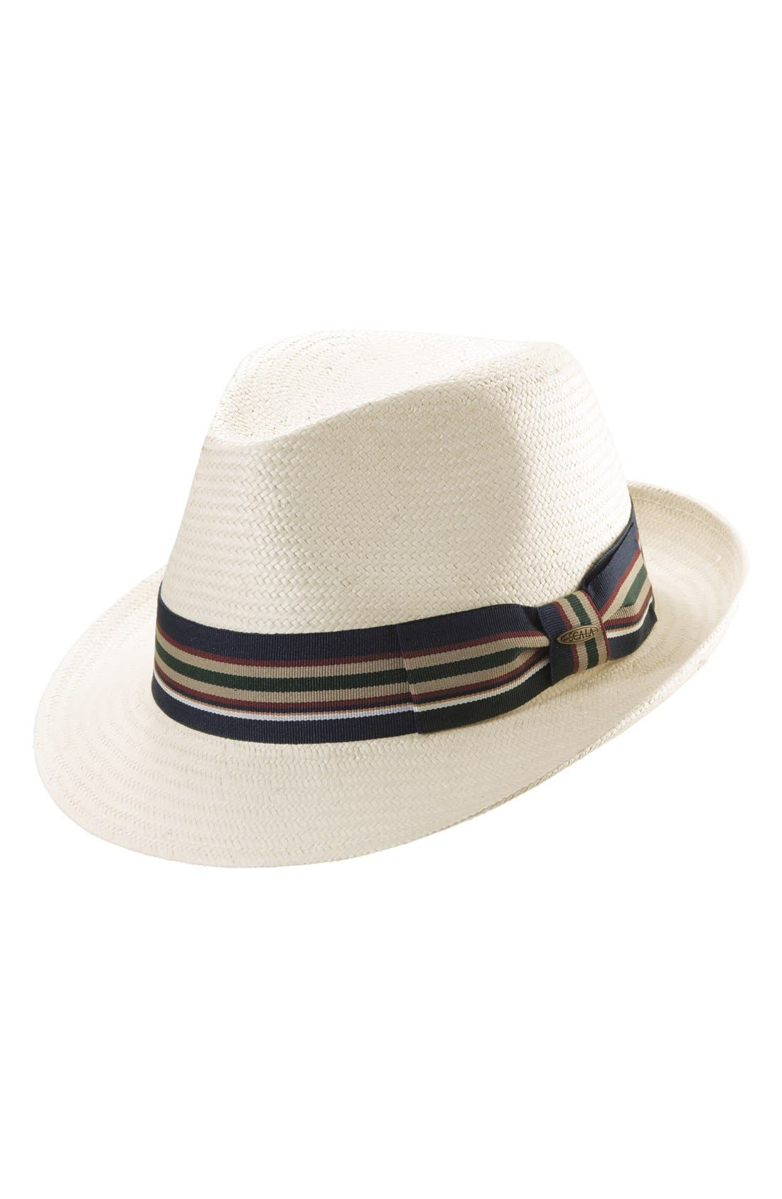 Straw Trilby,                             Main thumbnail 1, color,                             IVORY