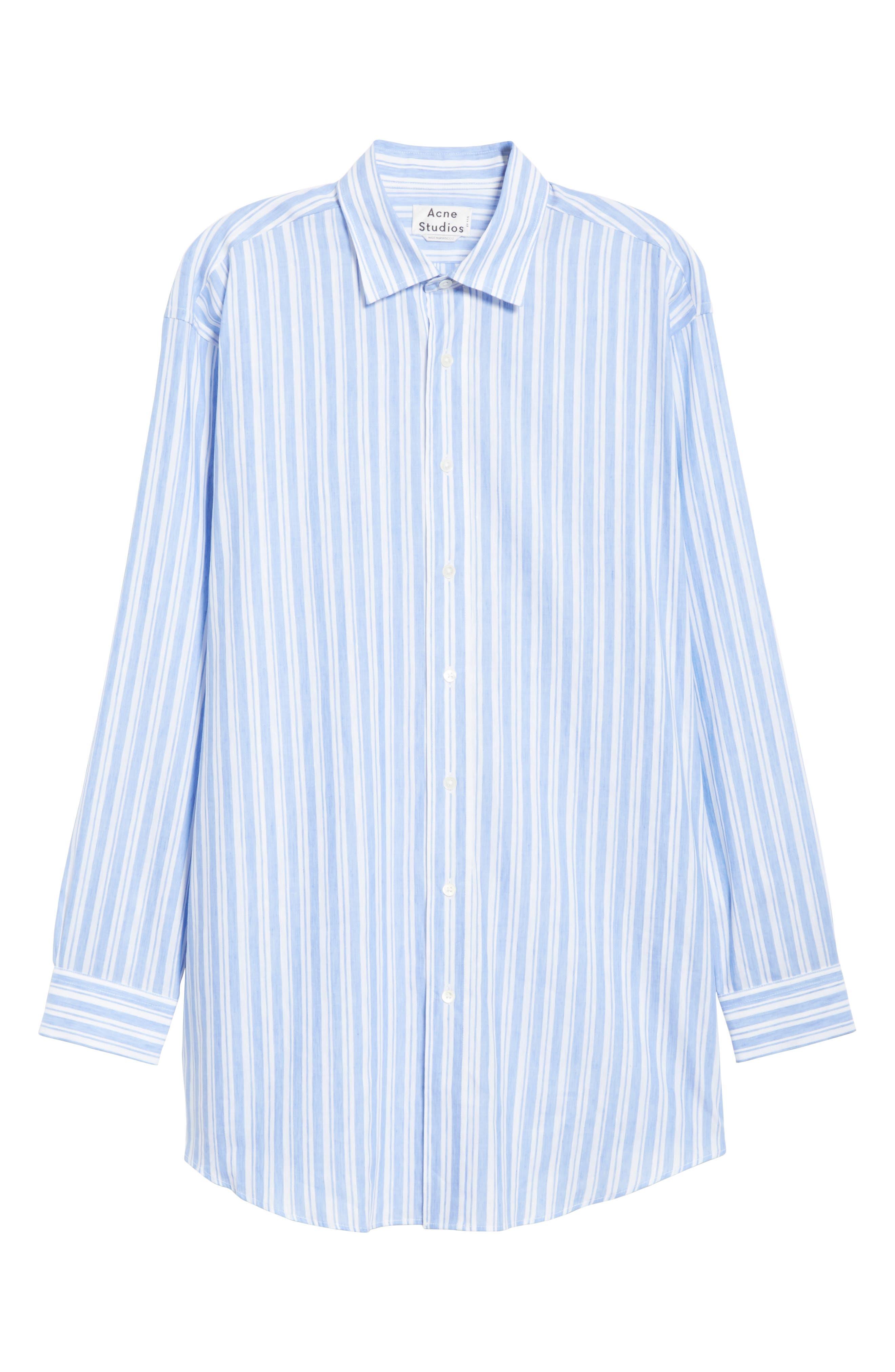 Oversized Stripe Chambray Shirt,                             Alternate thumbnail 6, color,                             460