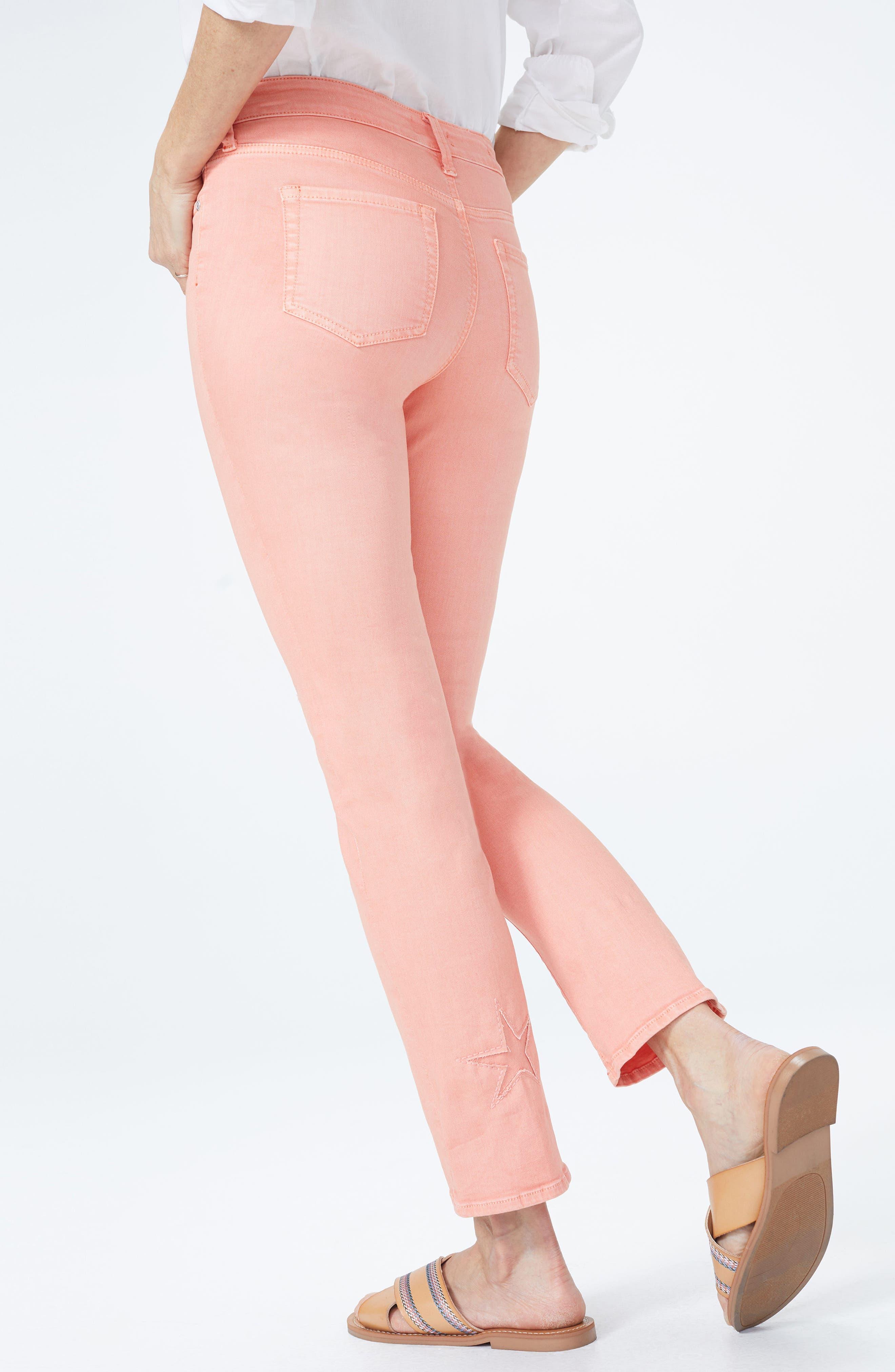 Lasercut Starfish Stretch Slim Ankle Pants,                             Alternate thumbnail 4, color,