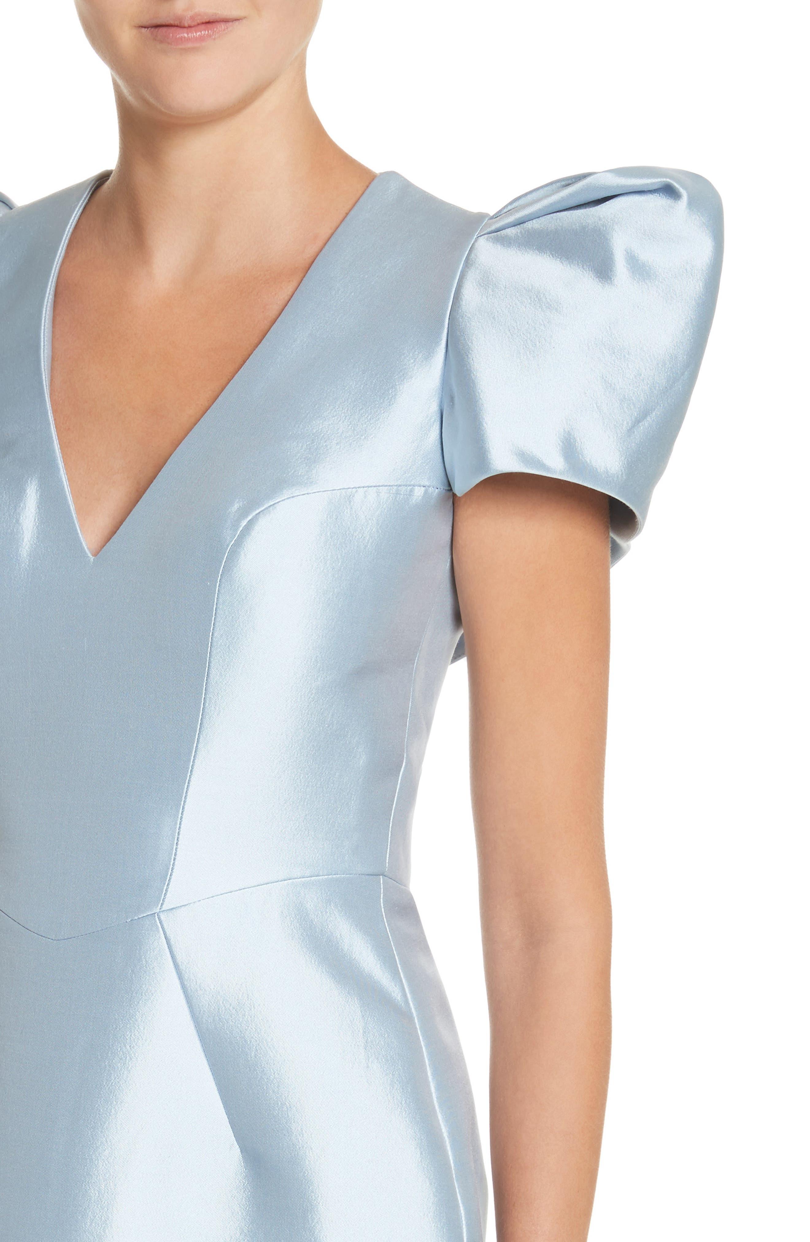 Puff Sleeve Silk Blend Sheath Dress,                             Alternate thumbnail 4, color,                             450
