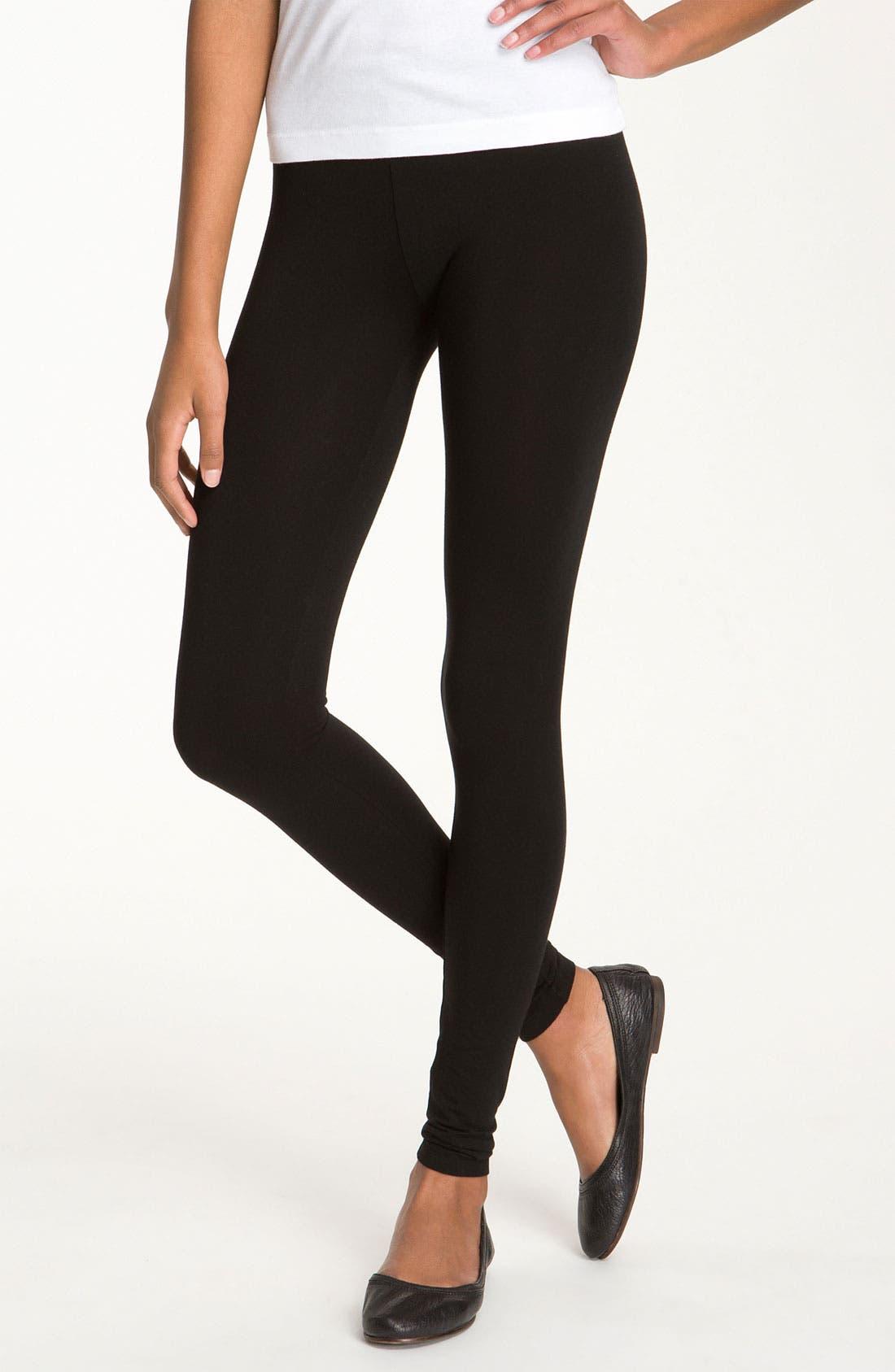 Stretch Cotton Leggings,                         Main,                         color, BLACK