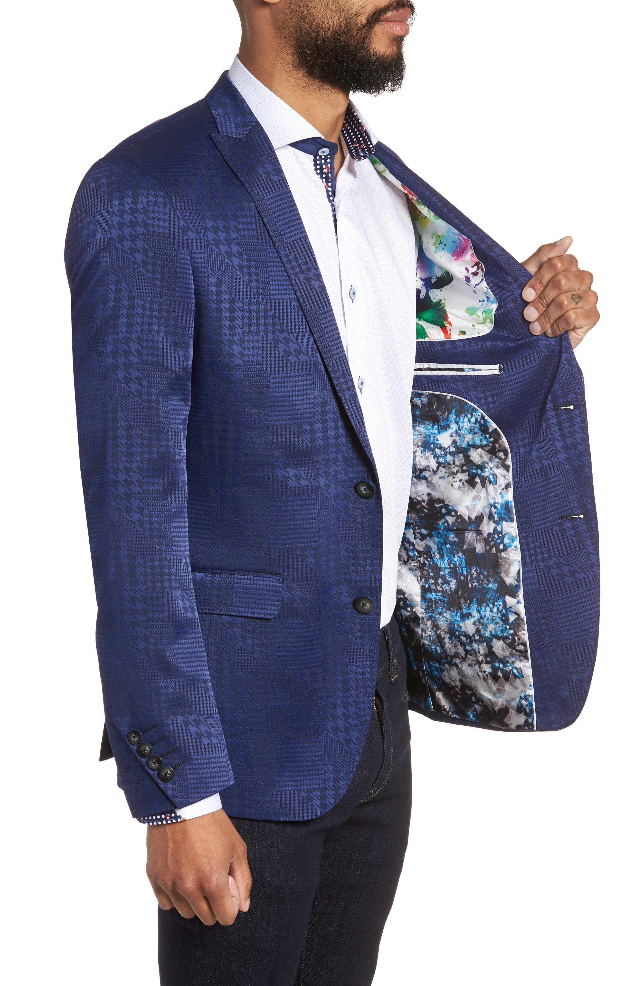 Descartes Patch Houndstooth Sport Coat,                             Alternate thumbnail 3, color,                             420