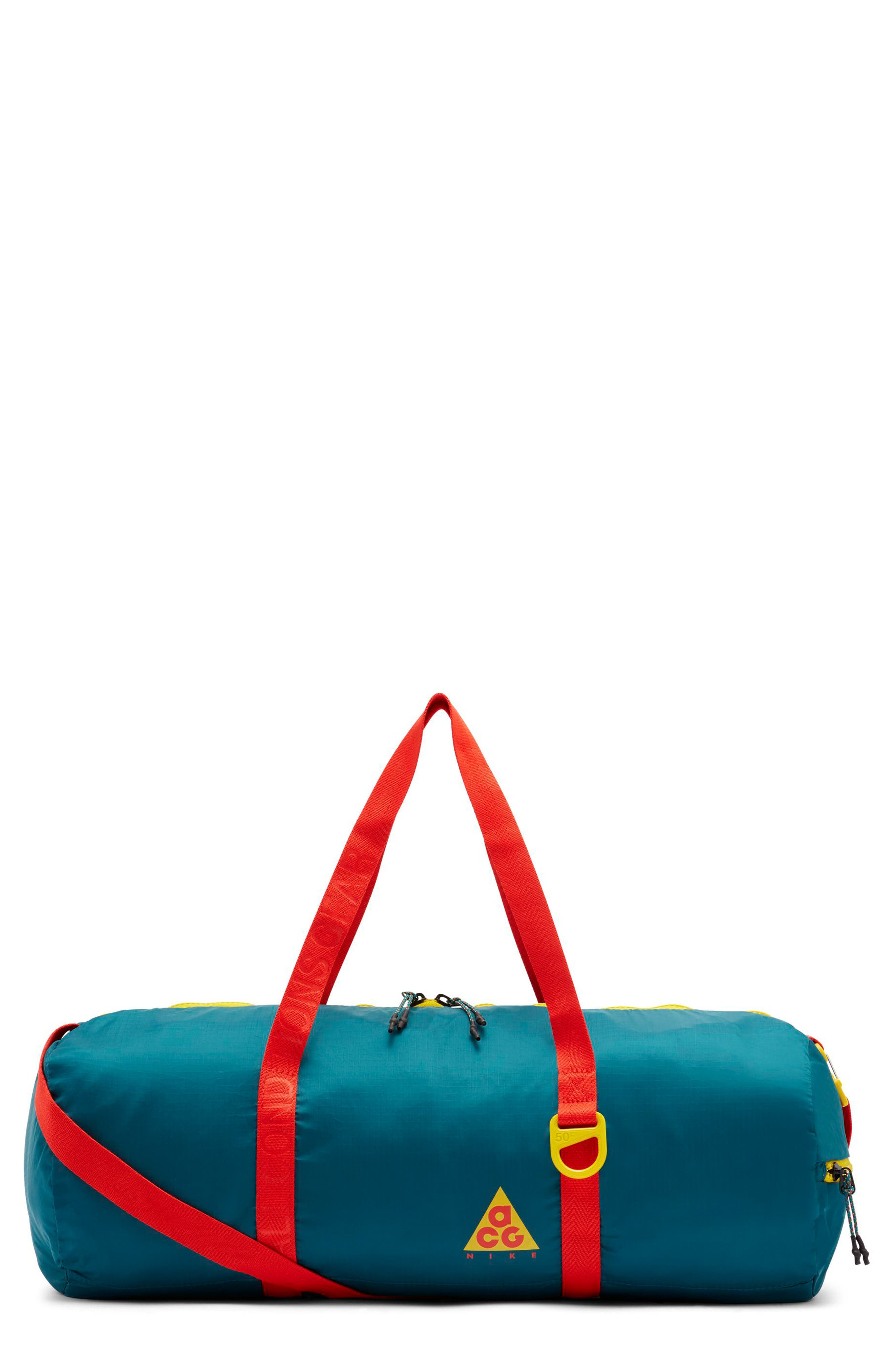 Packable Duffel Bag,                             Main thumbnail 1, color,                             GEODE TEAL/ HABANERO RED