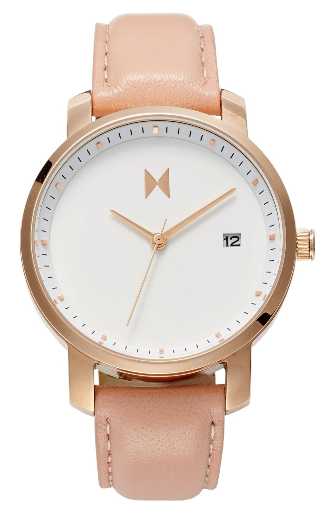Leather Strap Watch, 38mm,                             Main thumbnail 1, color,                             PEACH/ WHITE