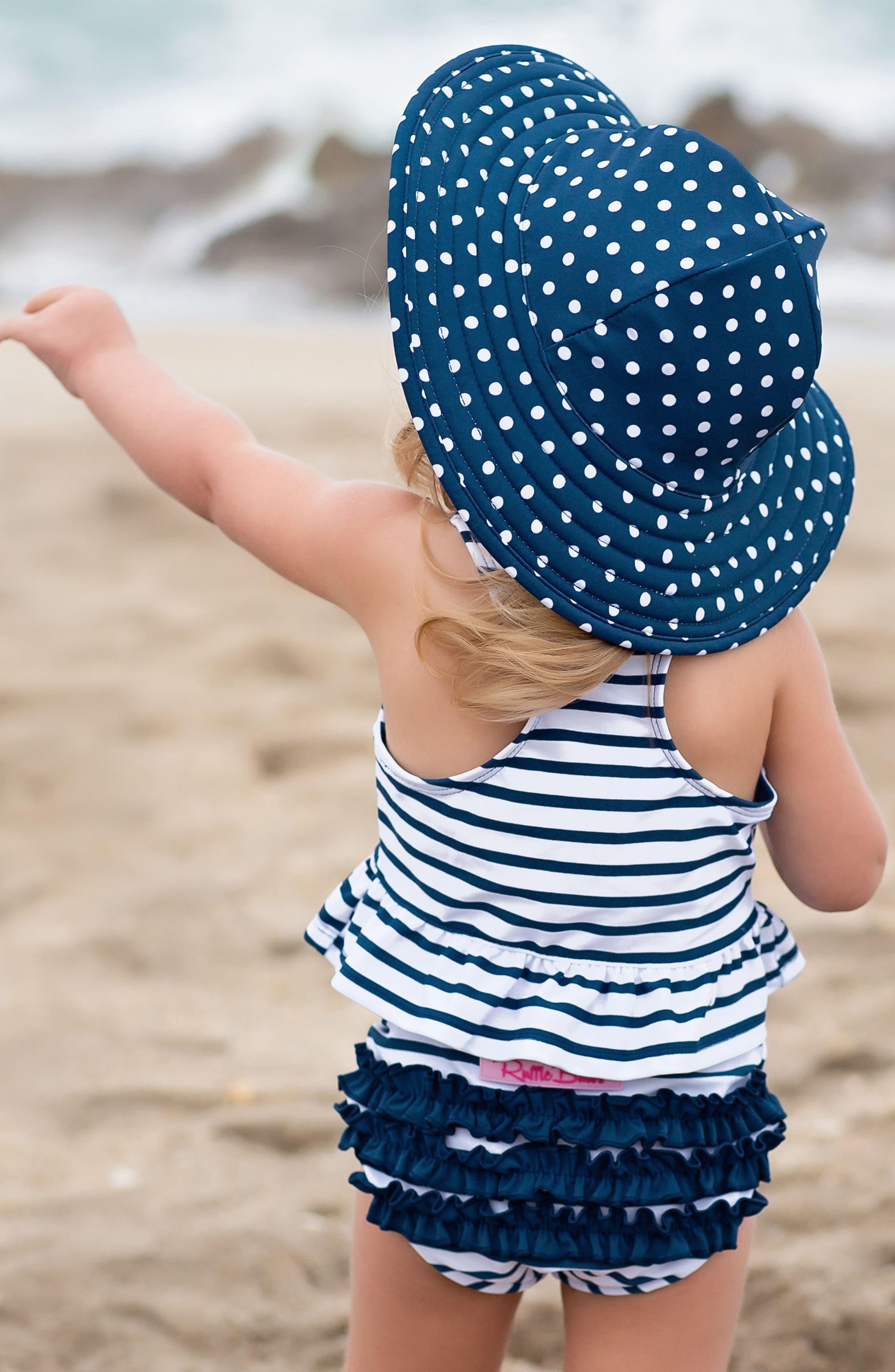 Stripe Peplum Two-Piece Tankini Swimsuit & Reversible Hat Set,                             Alternate thumbnail 4, color,                             NAVY