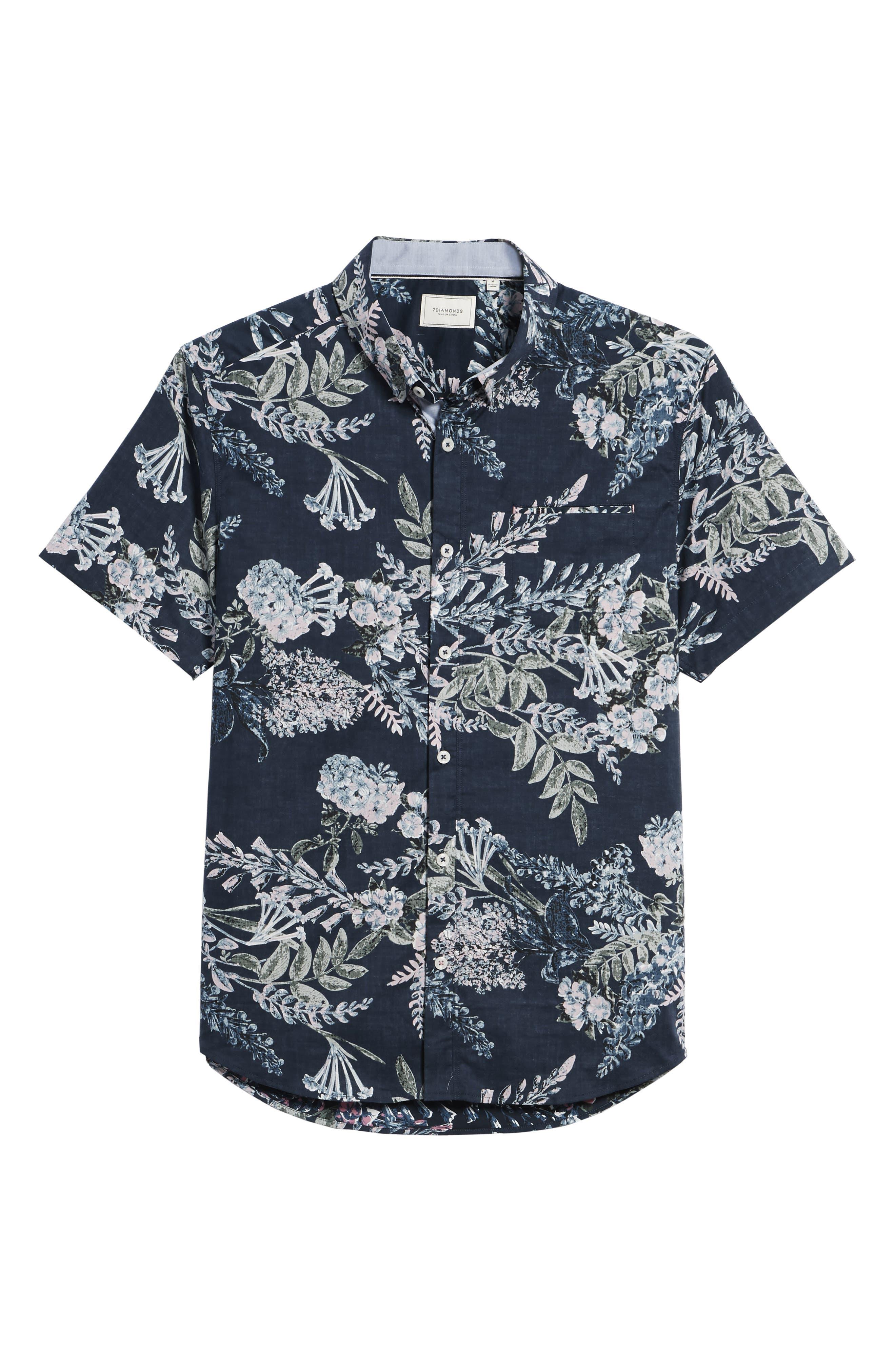 Conversation Peace Floral Sport Shirt,                             Alternate thumbnail 6, color,                             440