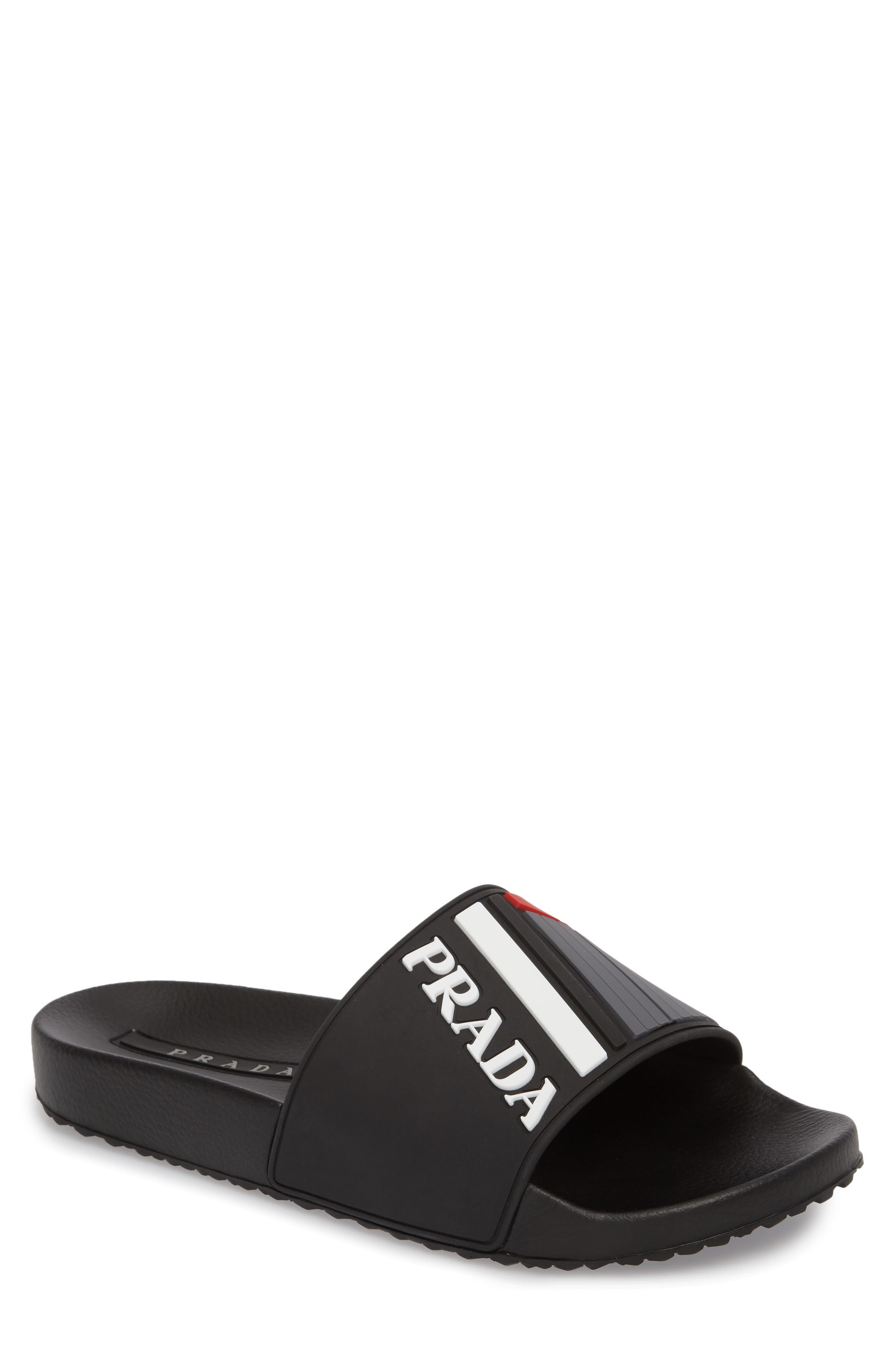Linea Rossa Logo Slide Sandal,                         Main,                         color, NERO BIANCO