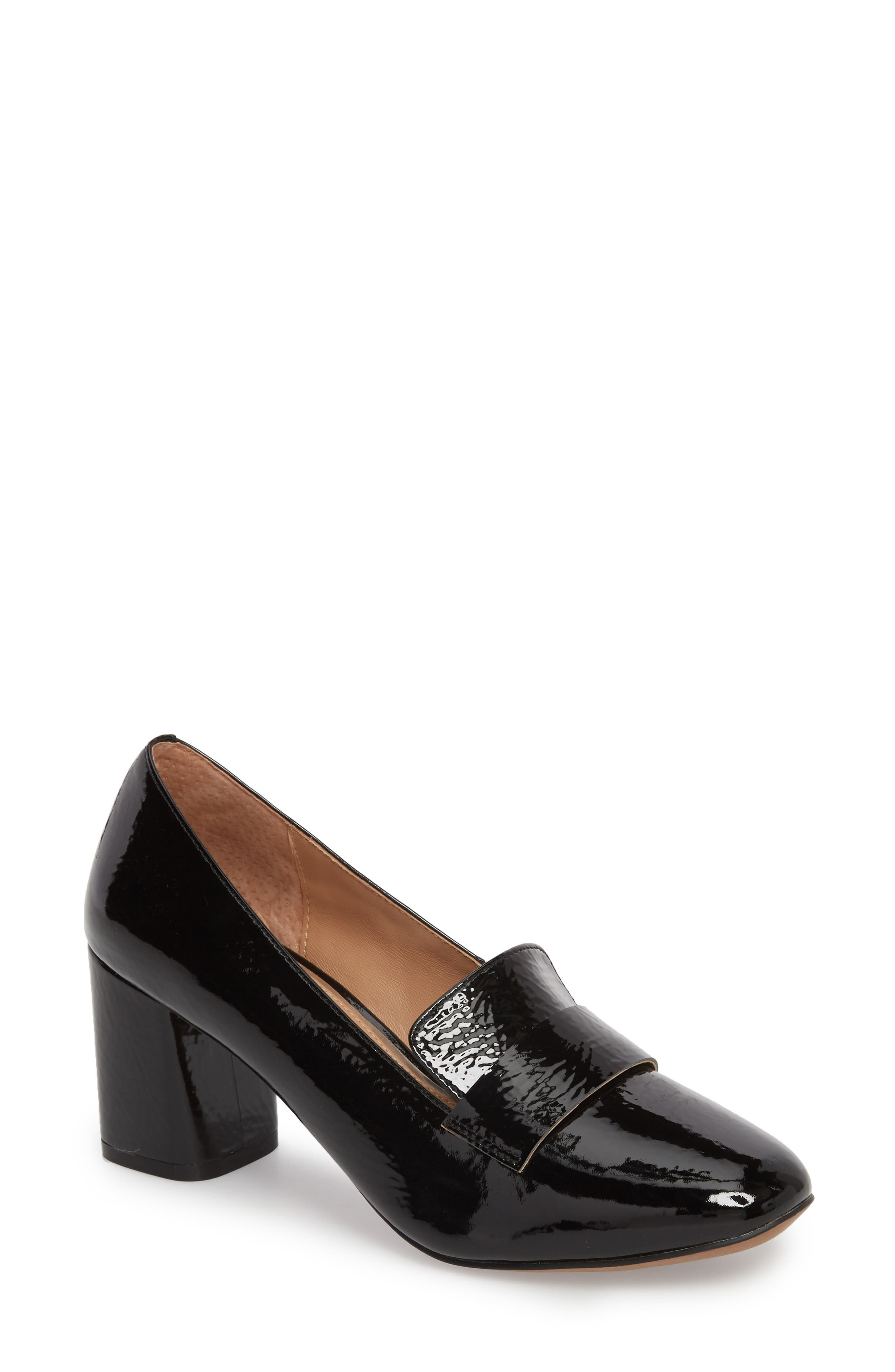 Camryn Loafer Pump,                             Main thumbnail 1, color,                             BLACK CRINKLE PATENT