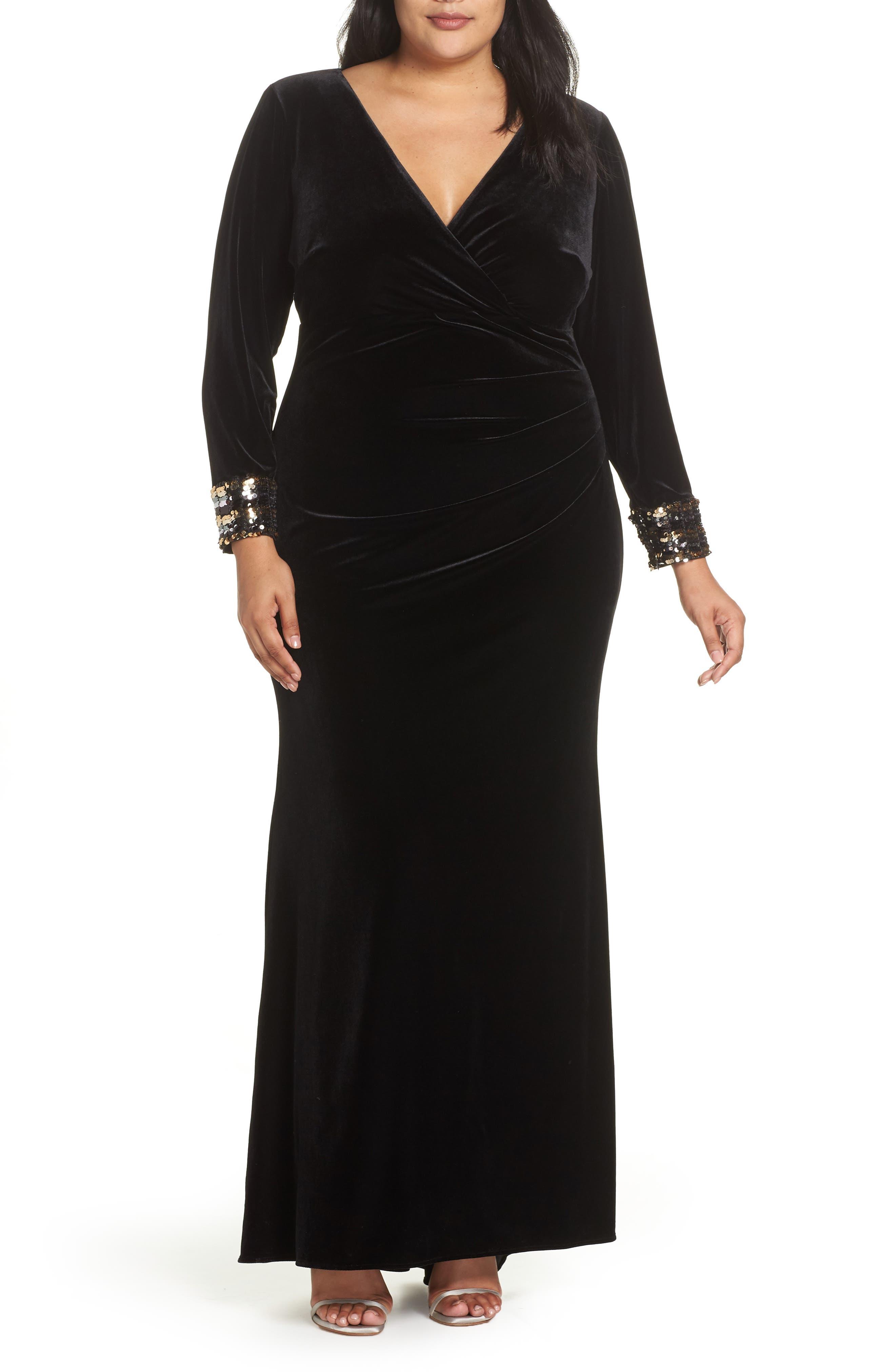 Plus Size Vince Camuto Velvet Sequin Cuff Gown, Black