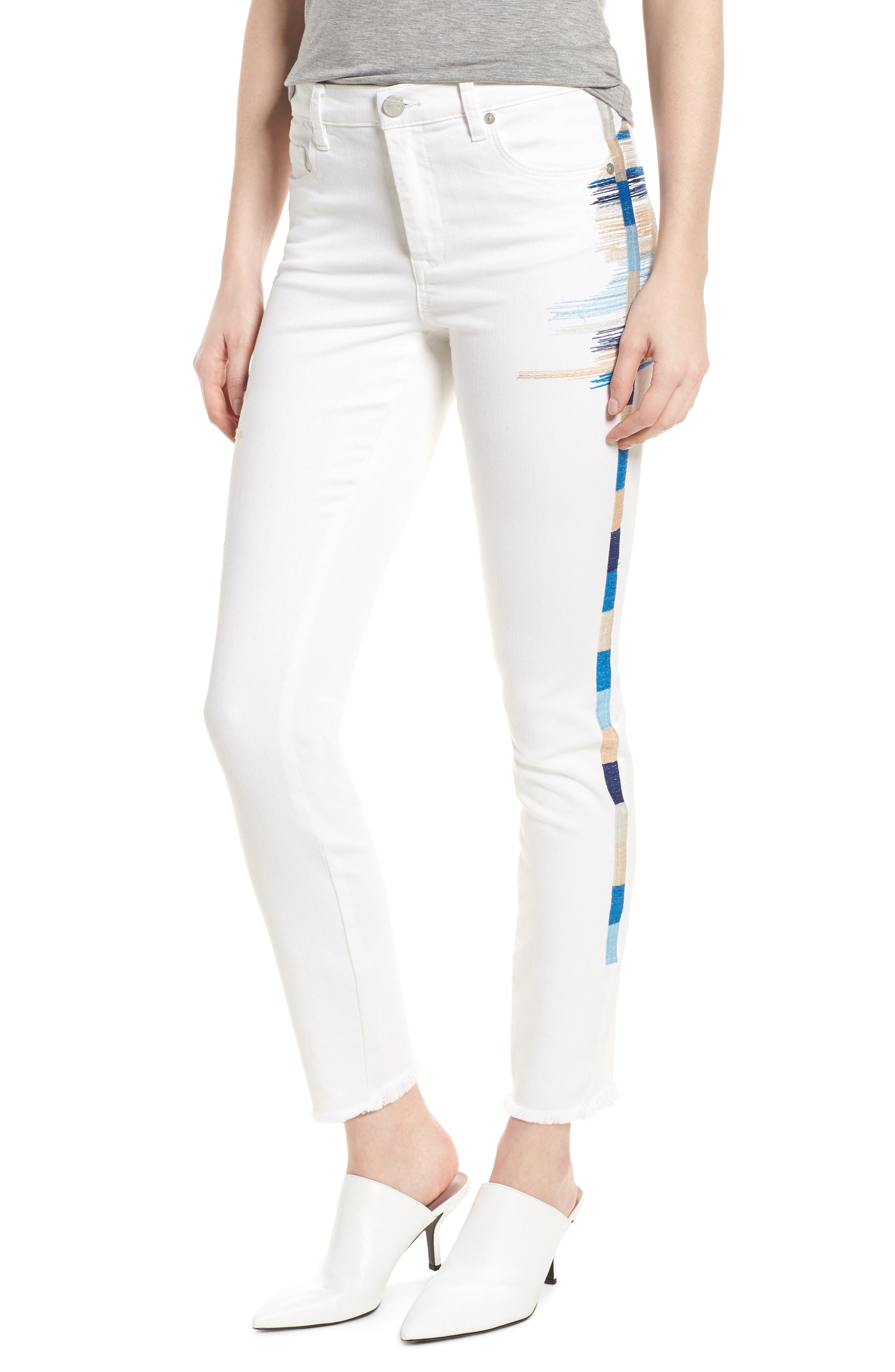 Bond Embroidered Skinny Jeans,                             Main thumbnail 1, color,                             110