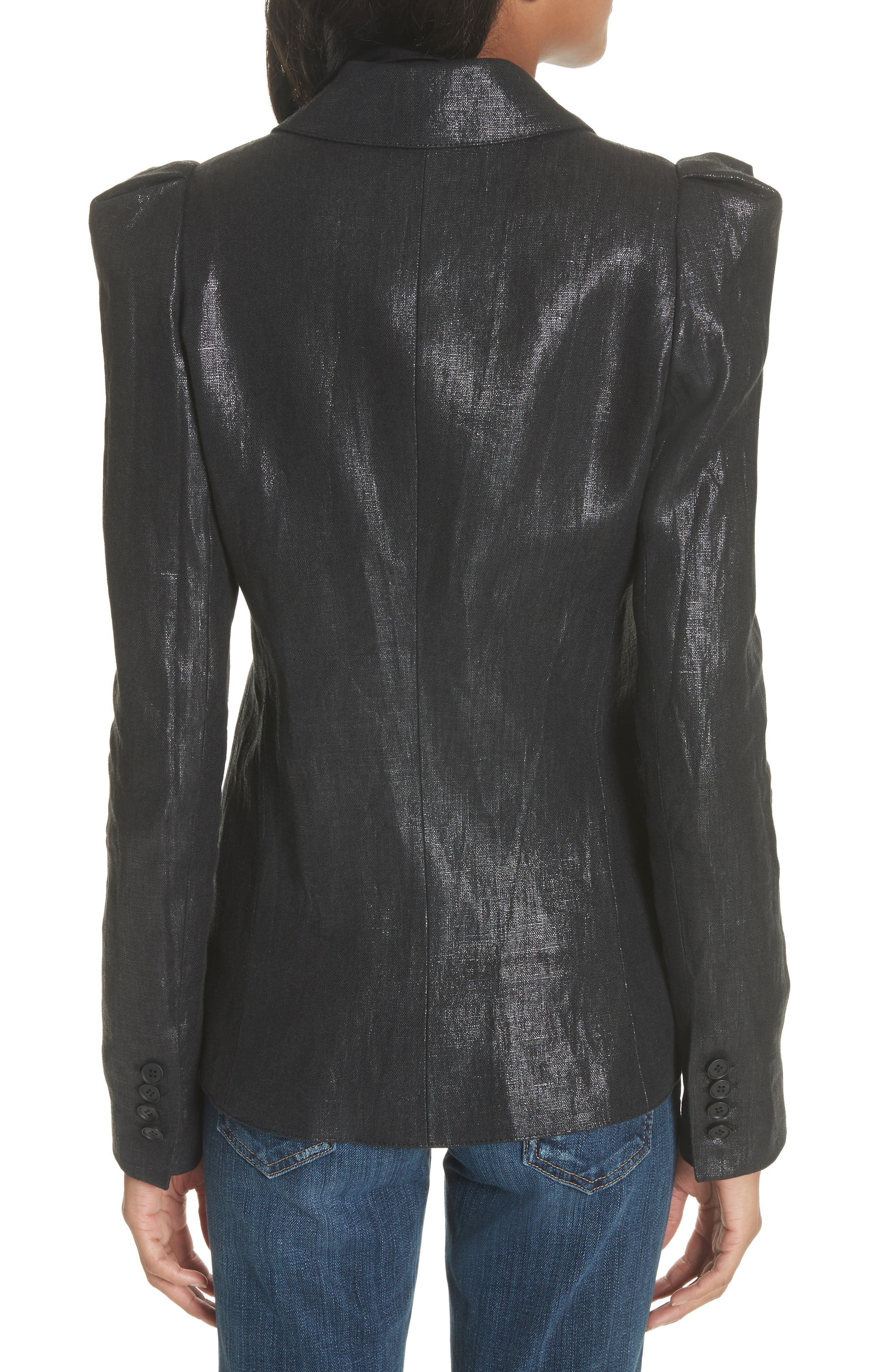 Metallic Linen Puff Sleeve Blazer,                             Alternate thumbnail 2, color,                             001