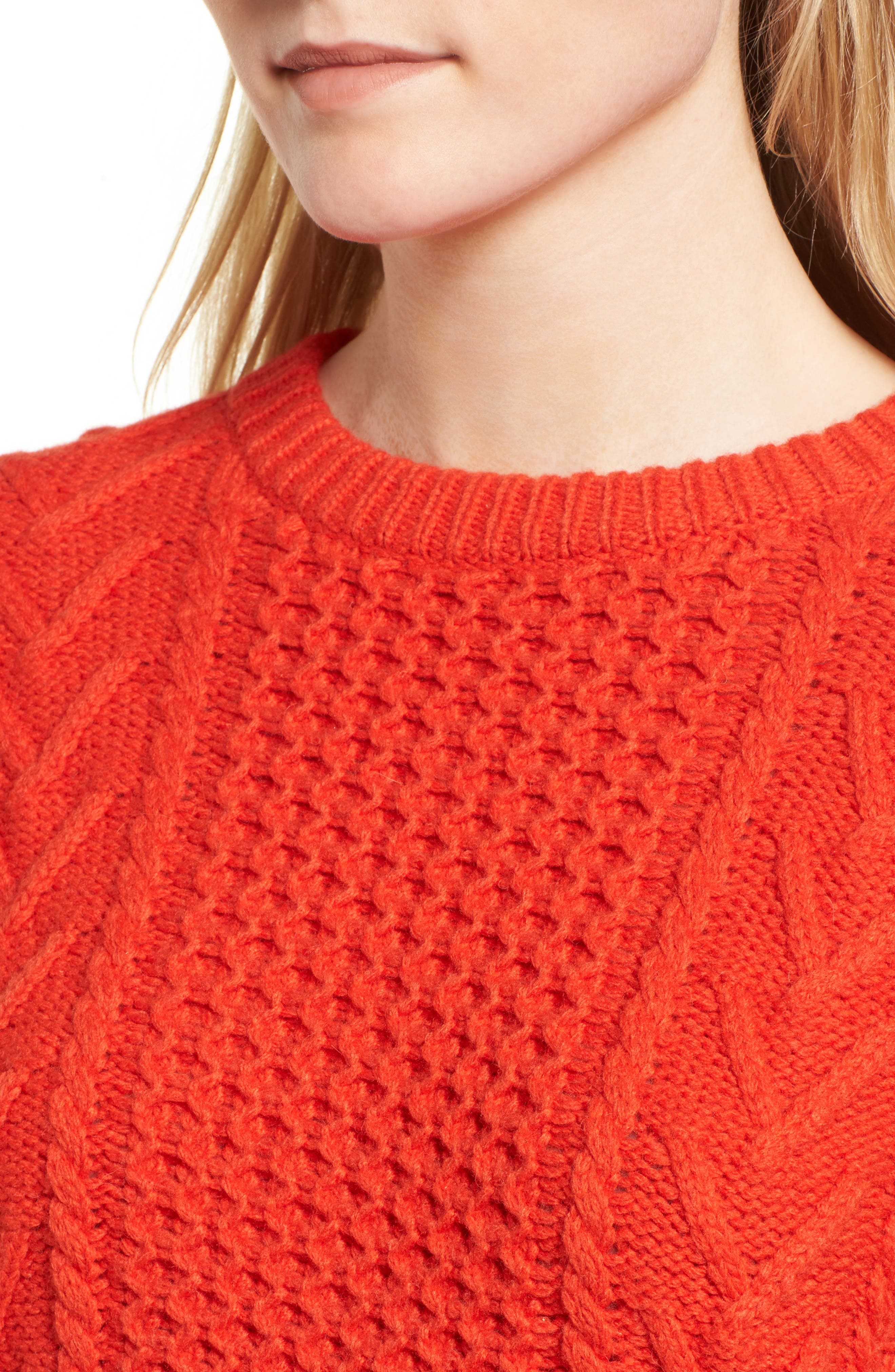 Cable Knit Pullover Sweater,                             Alternate thumbnail 7, color,