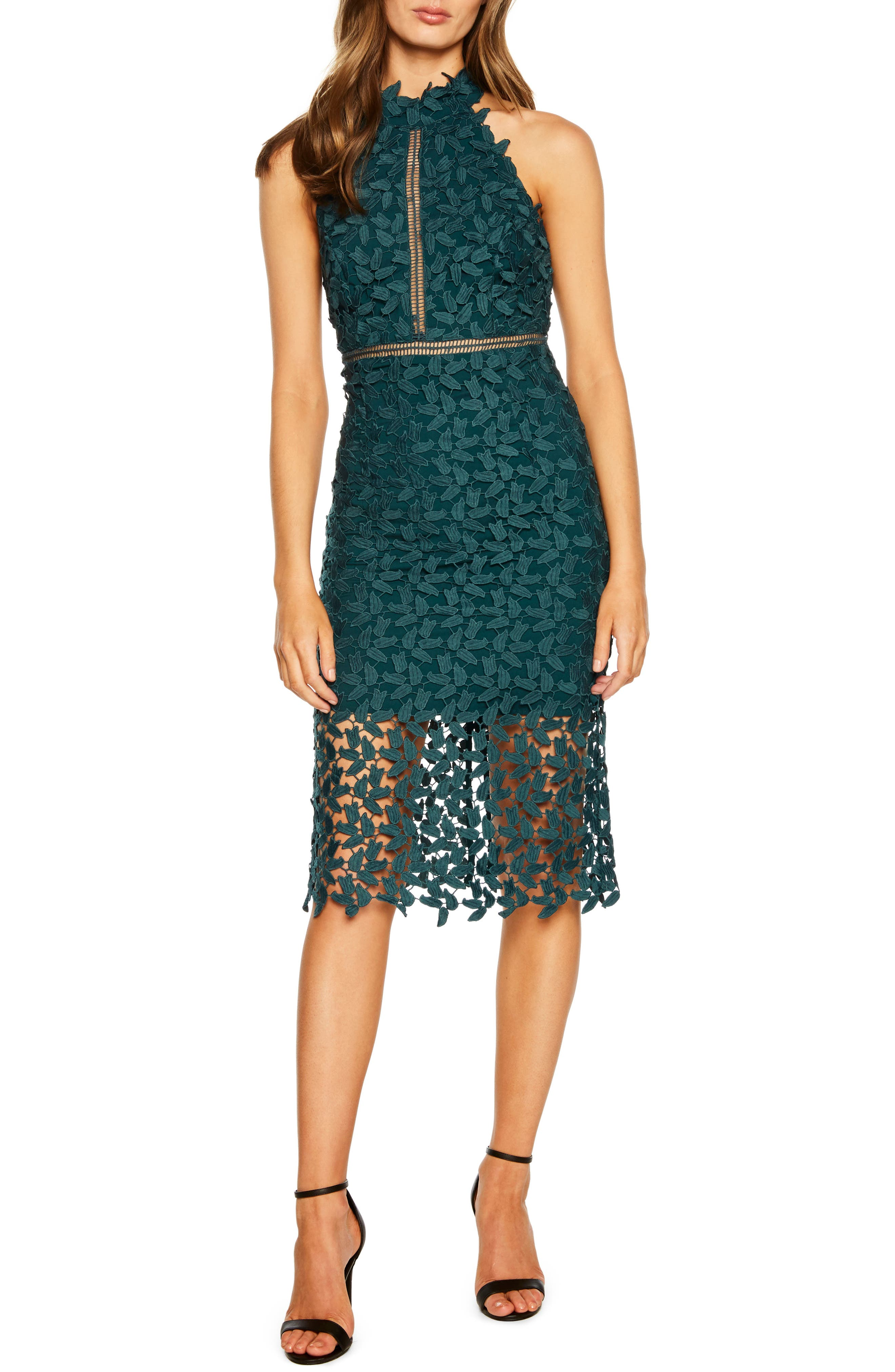 Bardot Gemma Halter Lace Sheath Dress, Green