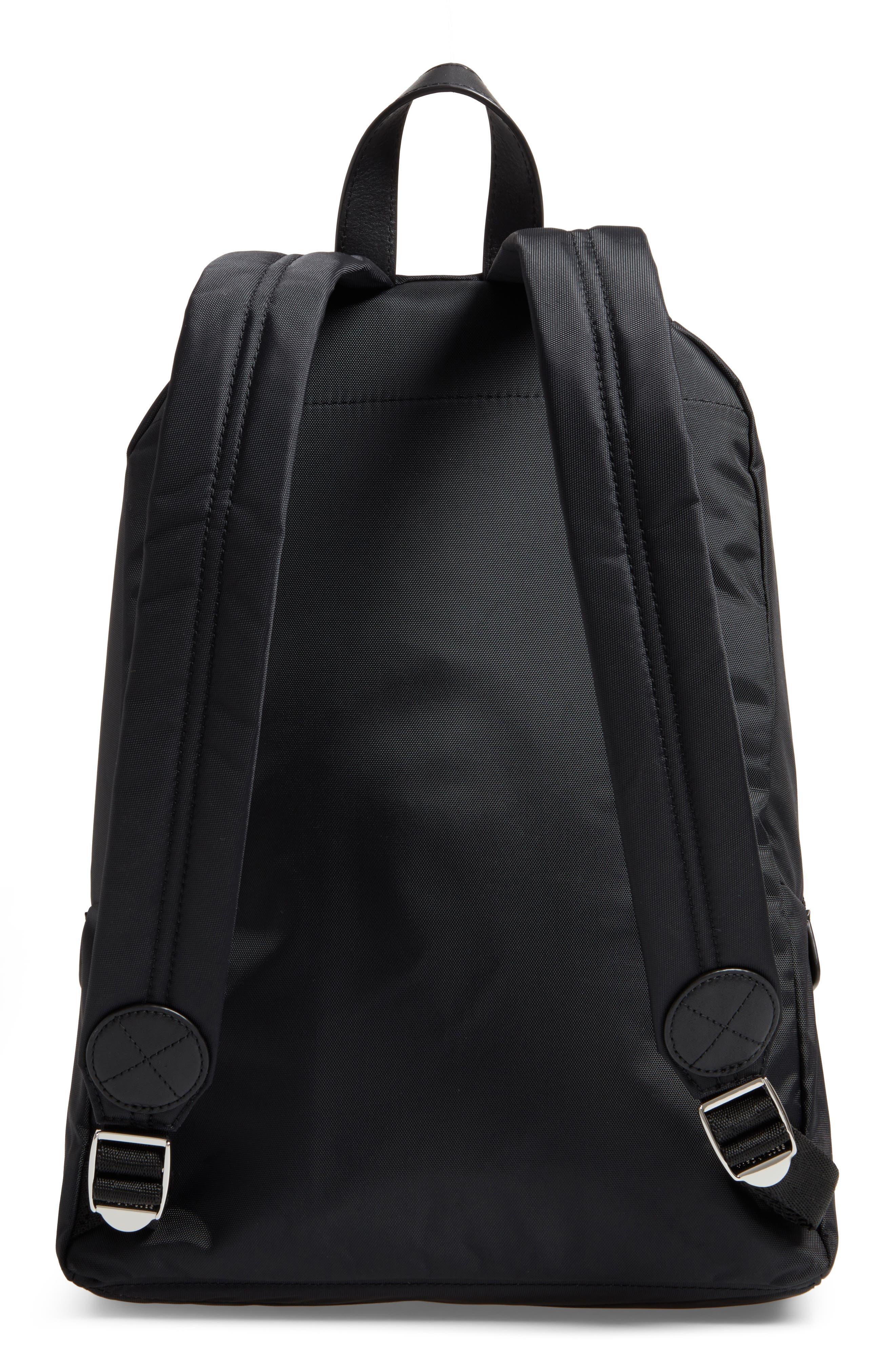 Biker Nylon Backpack,                             Alternate thumbnail 3, color,                             BLACK