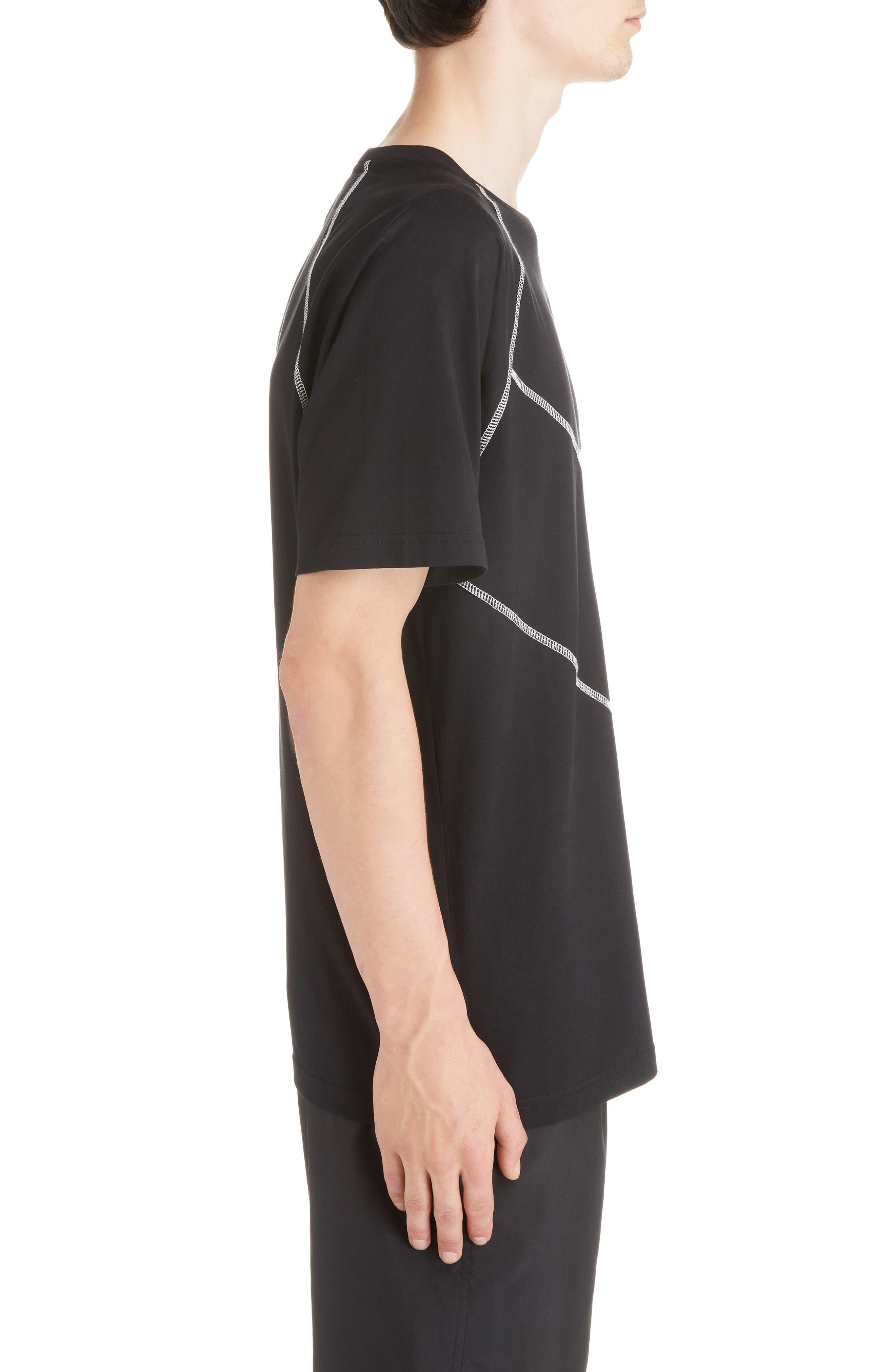 Chevron Stitch T-Shirt,                             Alternate thumbnail 3, color,                             BLACK