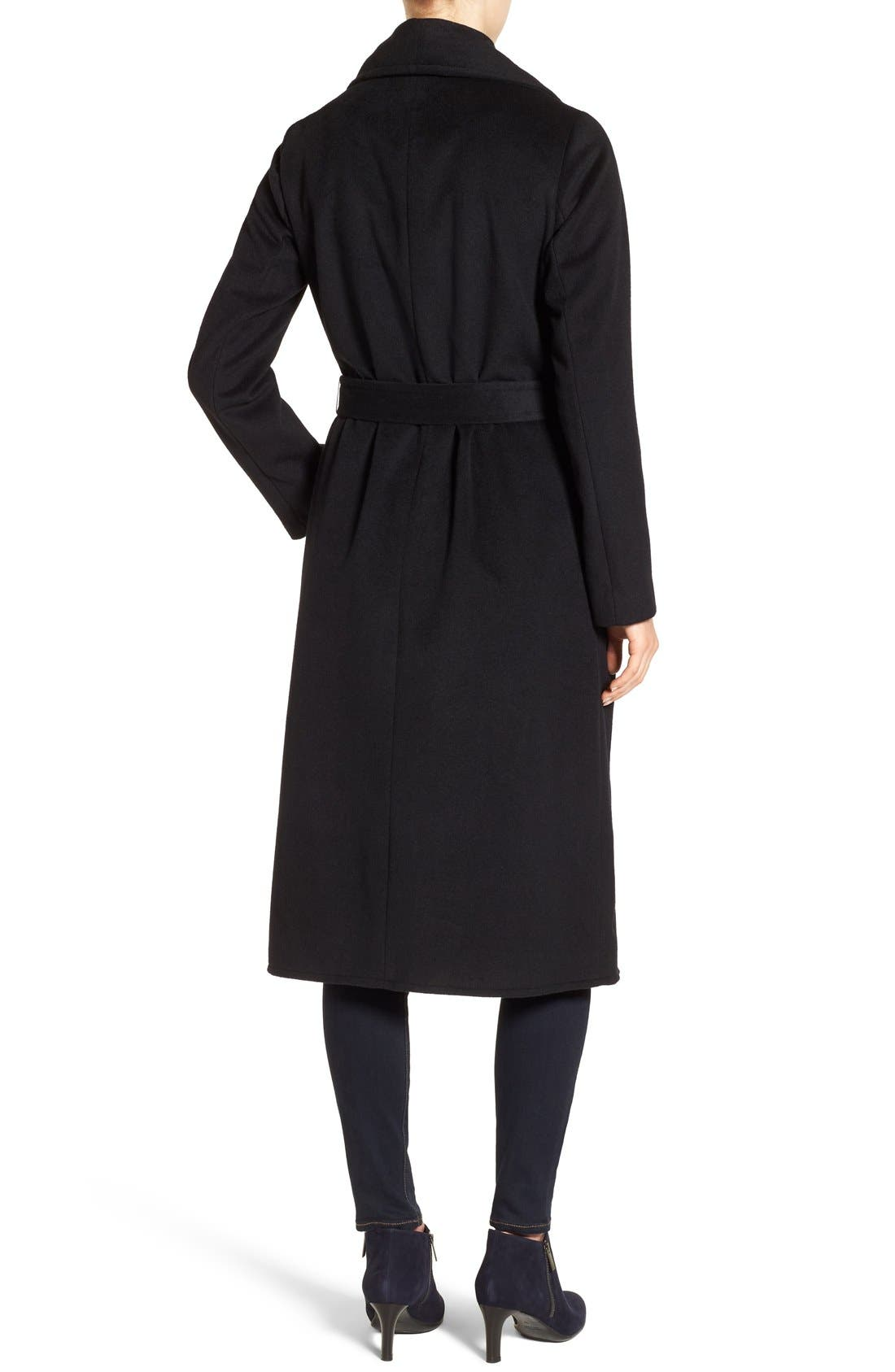 Drape Front Wrap Coat,                             Alternate thumbnail 2, color,                             001